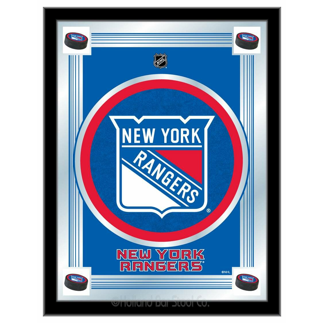 Holland Bar Stool Nhl Logo Mirror Framed Graphic Art