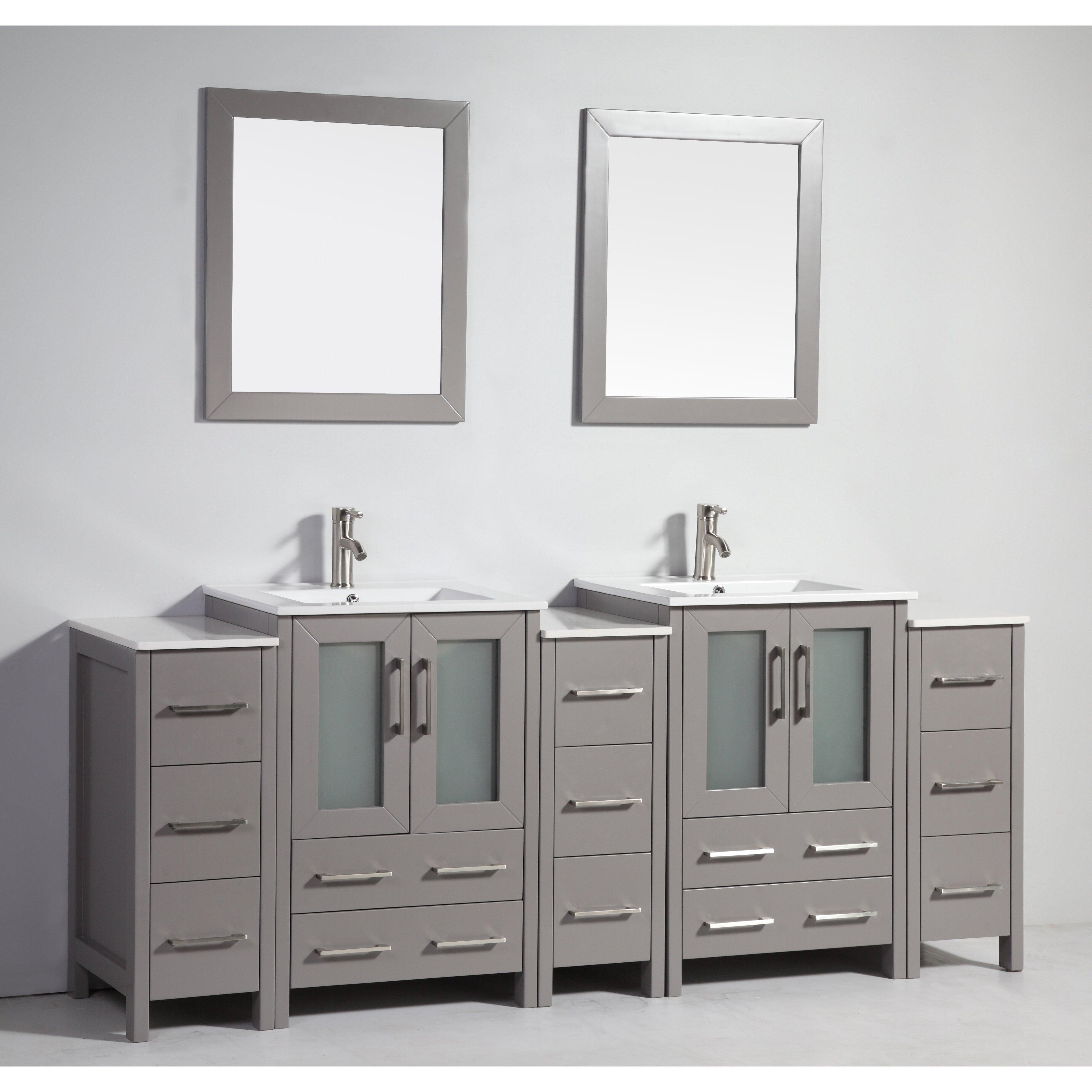 84 Quot Double Bathroom Vanity Set With Mirror Wayfair