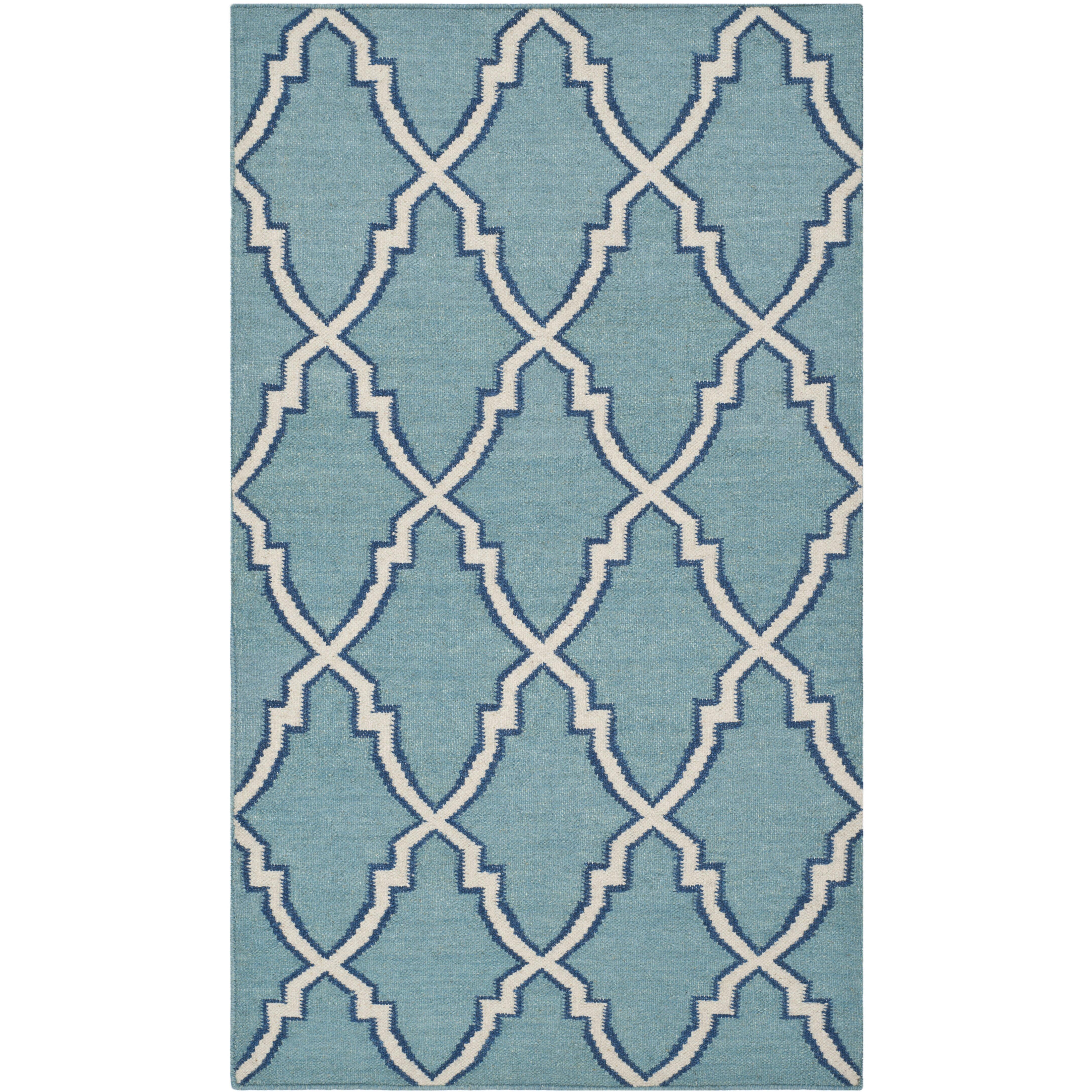 Handgewebter Teppich Dhurrie in HellblauElfenbein von