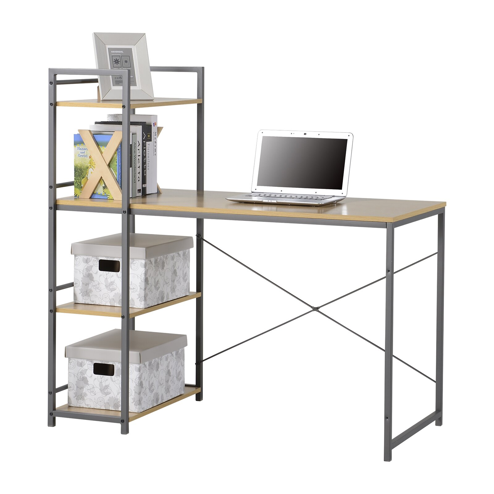 Bookcase Computer Desk: Homestar Computer Desk With Built-In 4 Shelf Bookcase