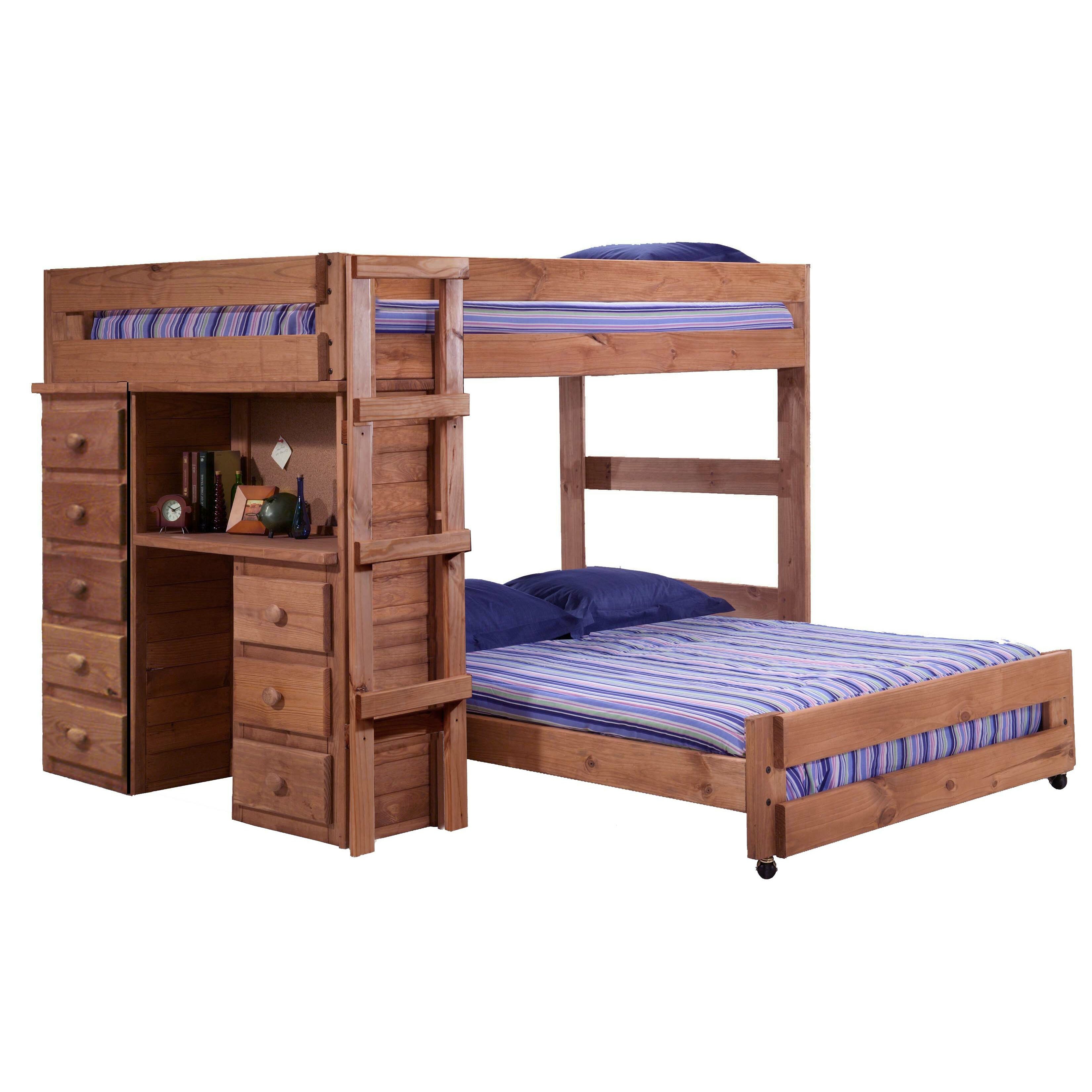 Full over Full L Shaped Bunk Bed with Storage