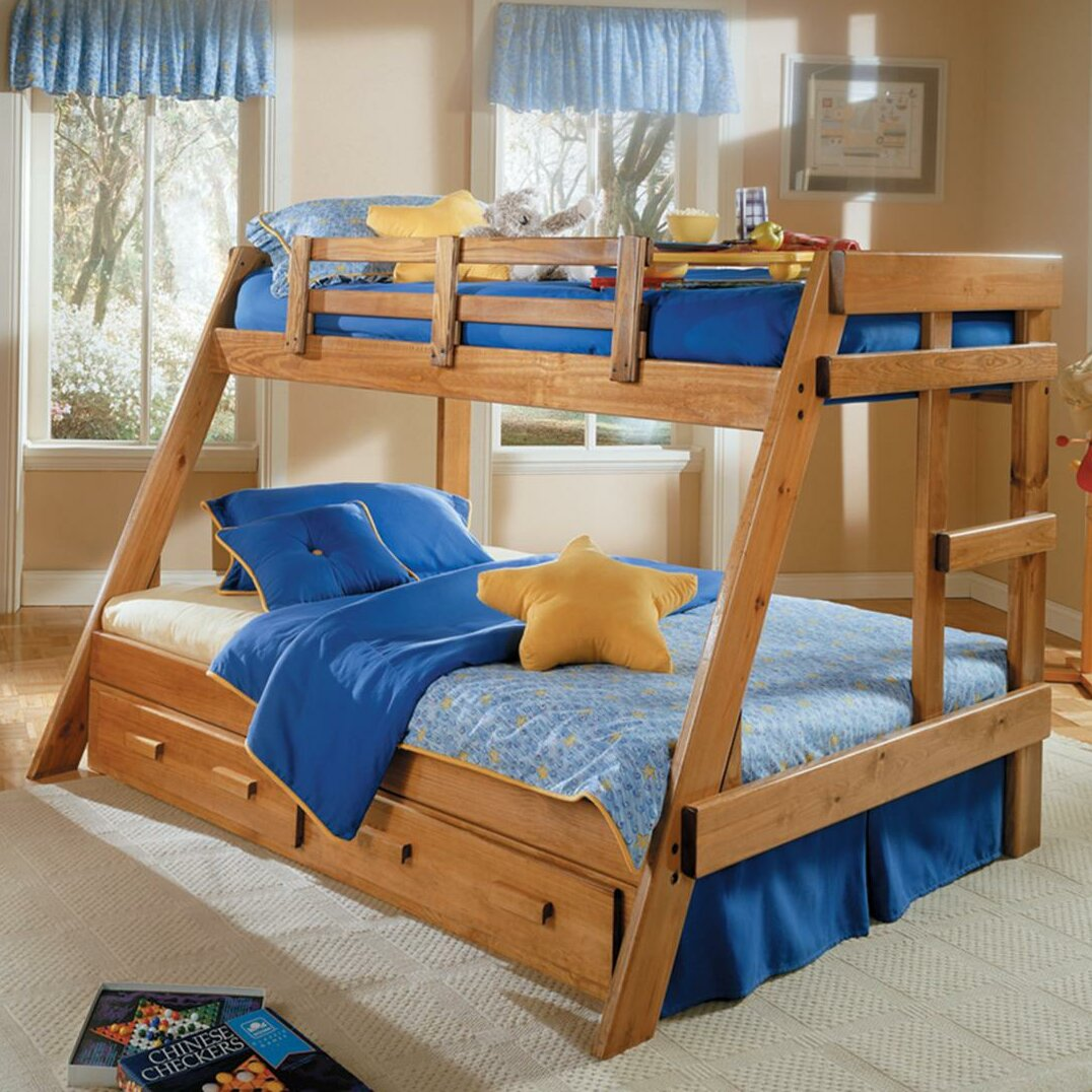 twin over full bunk bed with storage wayfair. Black Bedroom Furniture Sets. Home Design Ideas