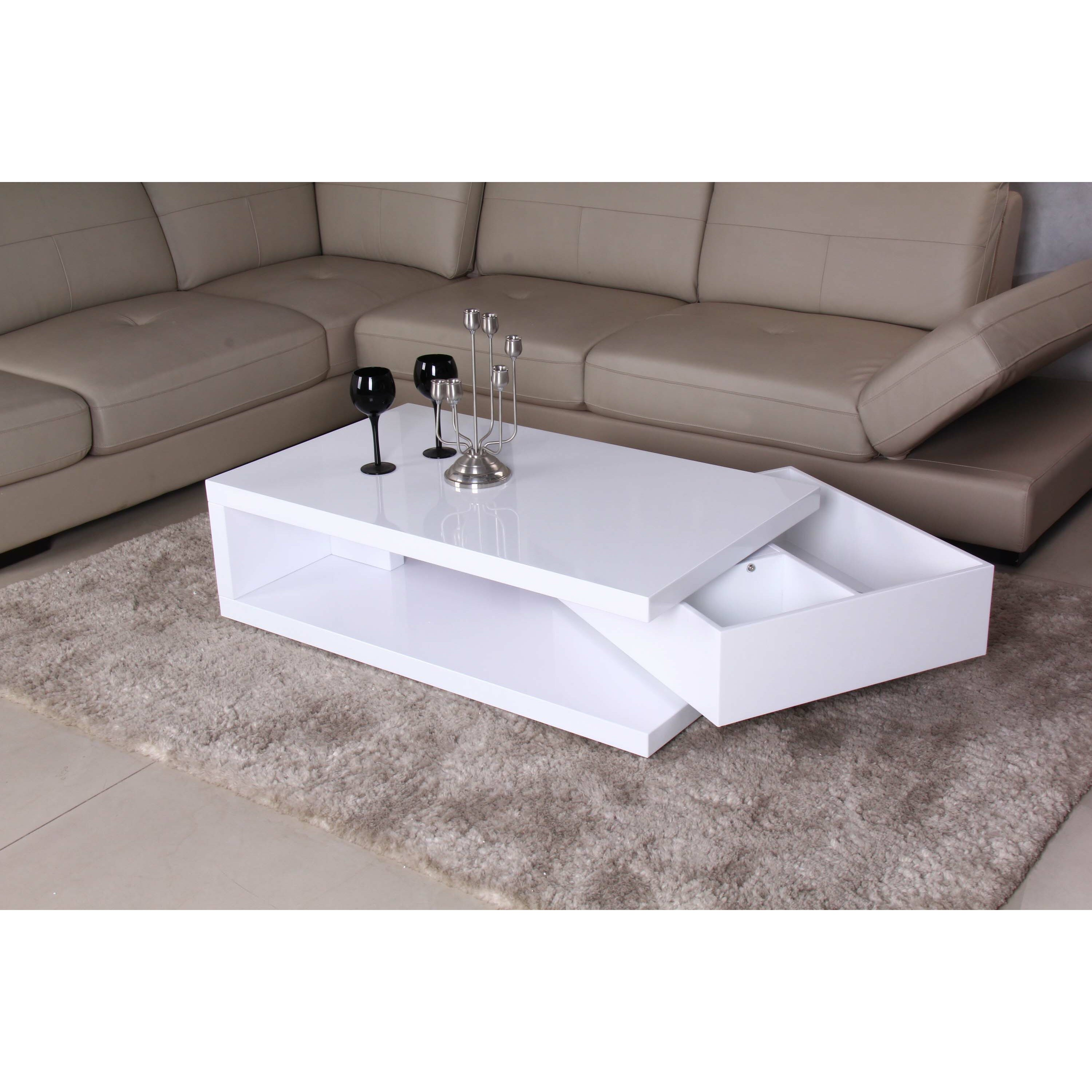 Fox Hill Trading Glossy Functional Coffee Table With