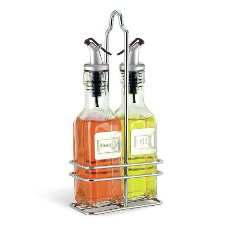 6 oz oil and vinegar bottle set with caddy wayfair. Black Bedroom Furniture Sets. Home Design Ideas