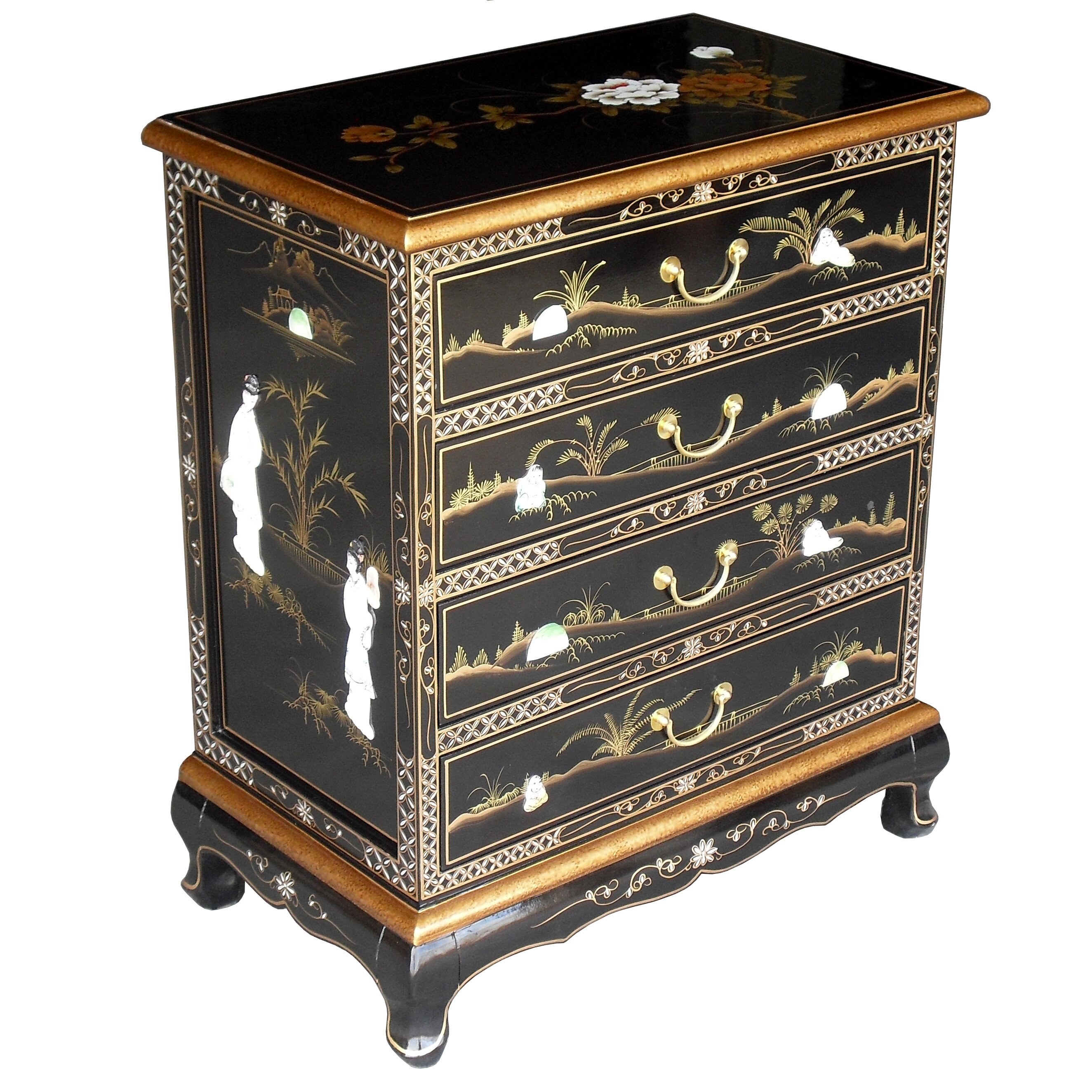 Grand international decor mother of pearl 4 drawer chest for Grand international decor