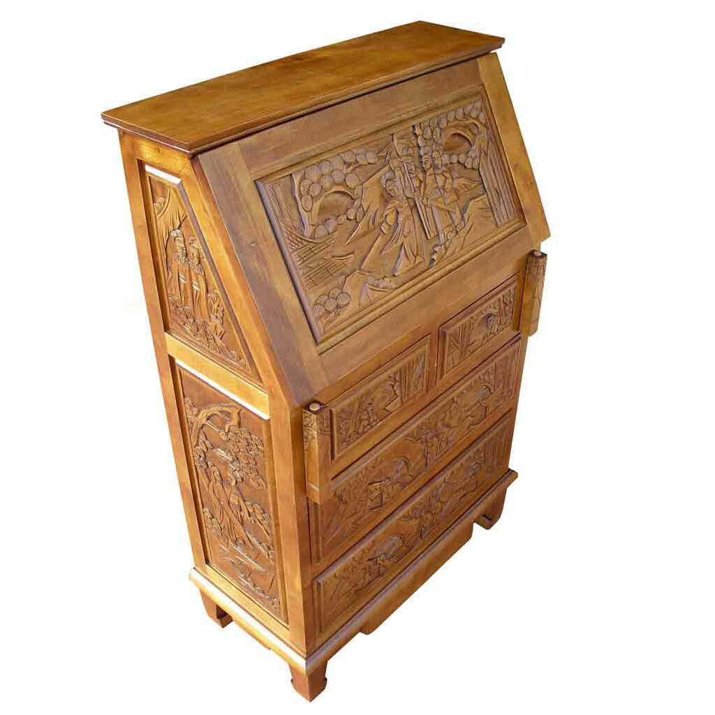 Grand international decor chinese carved secretary desk for Grand international decor