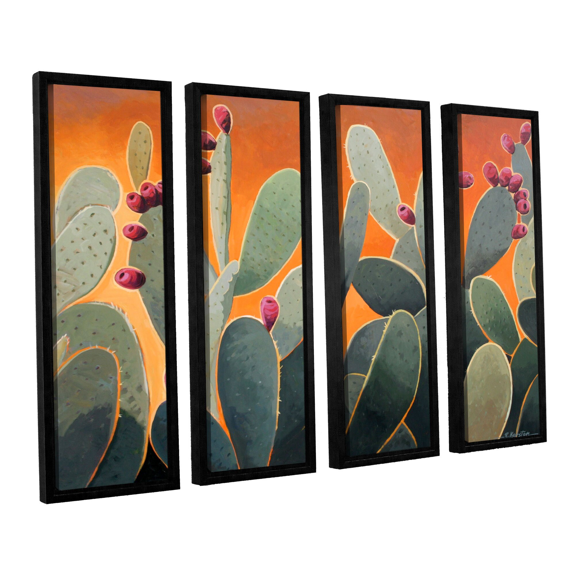 4 Piece Giolla Wall Decor Set : Artwall cactus orange by rick kersten piece framed