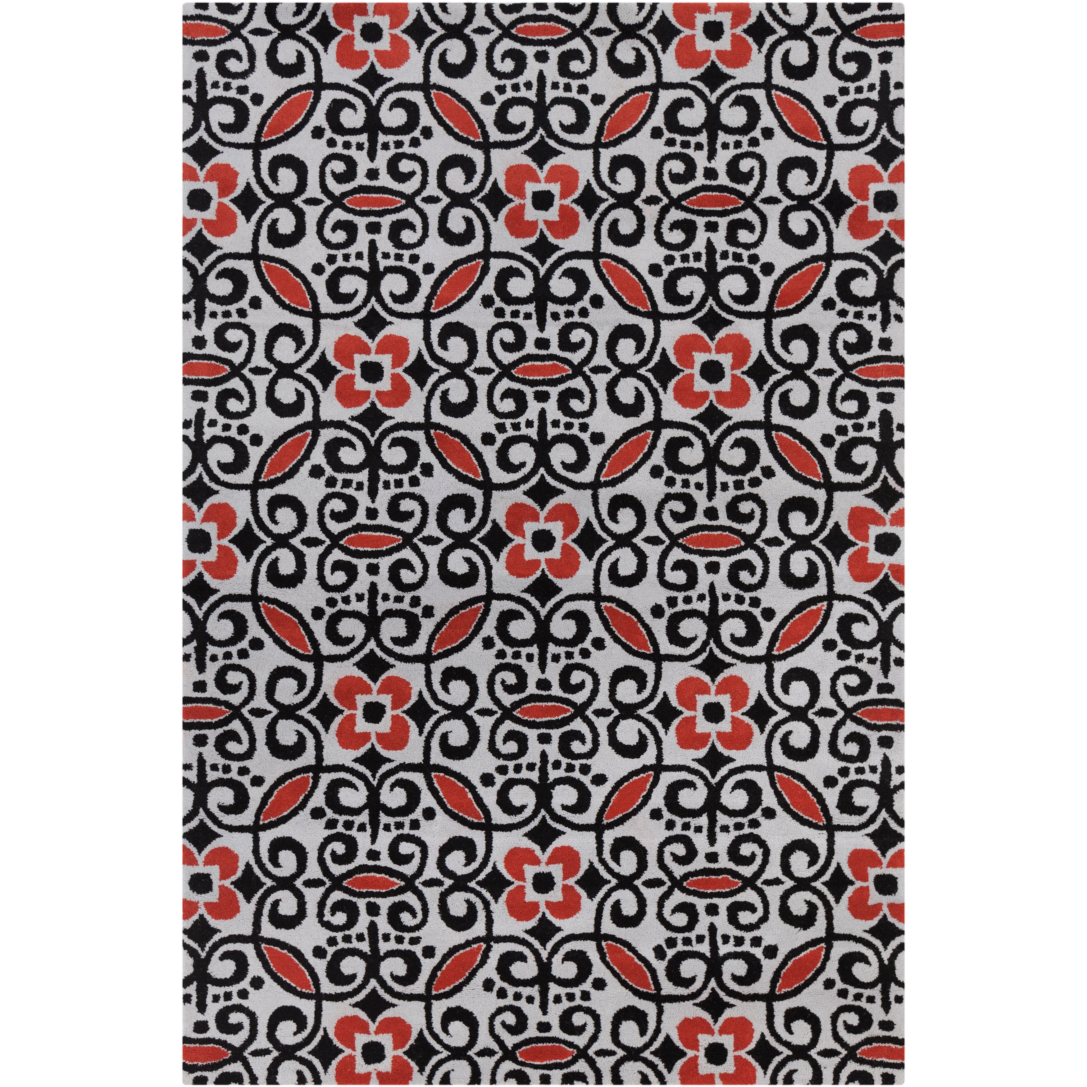Filament Cinzia Black Red Abstract Area Rug Allmodern