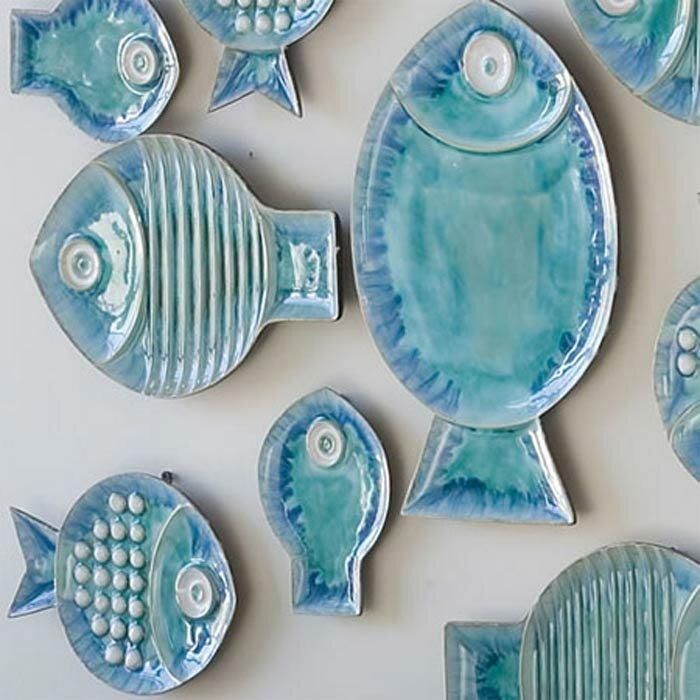 Global views blue fish plate wall d cor reviews wayfair for Fish decor for walls