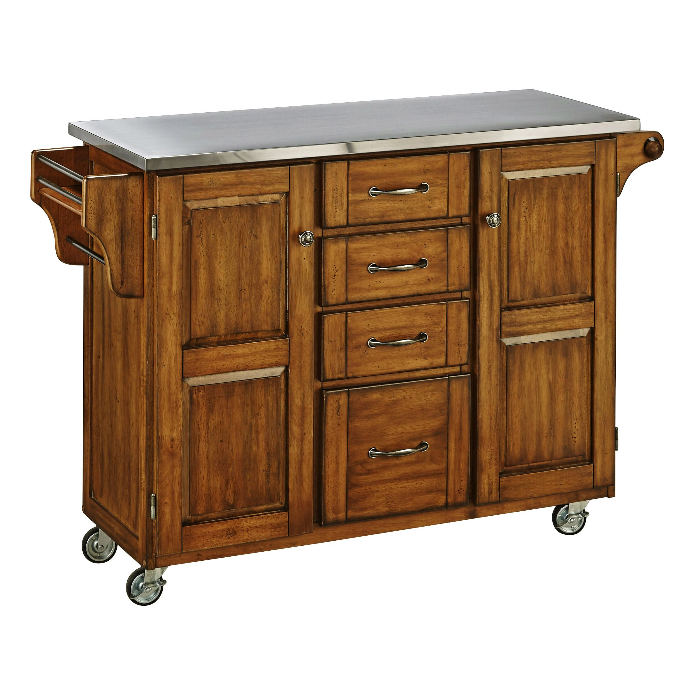 create a cart kitchen island with stainless steel top charlton home bainbridge kitchen cart with stainless steel