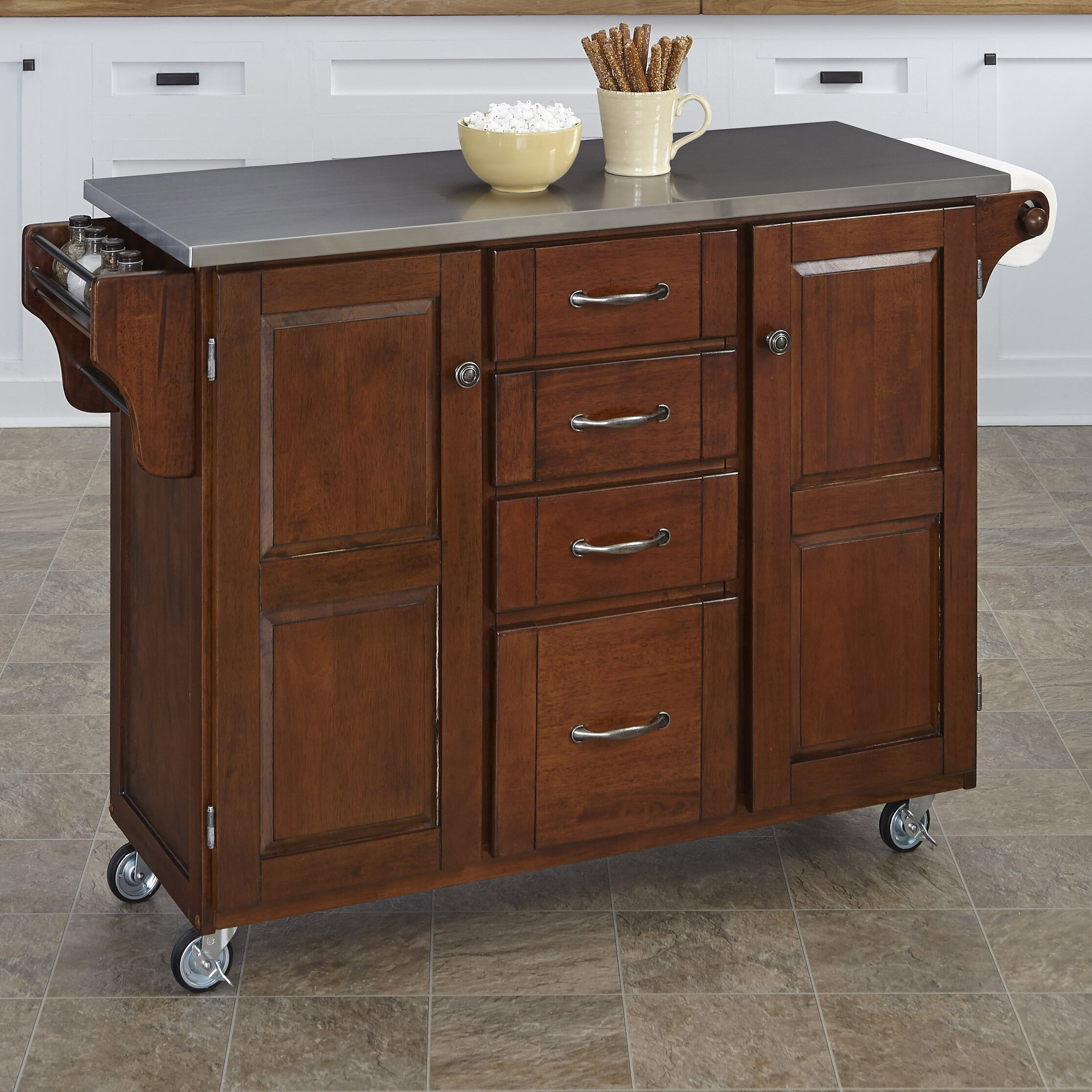 create a cart kitchen island with stainless steel top wayfair. Black Bedroom Furniture Sets. Home Design Ideas