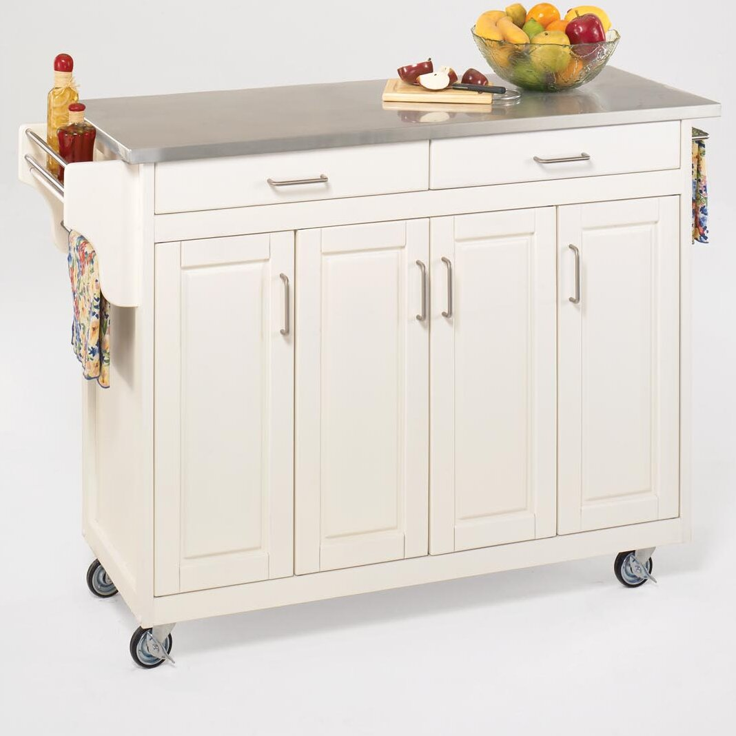 home styles create a cart kitchen island with stainless belham living white mid size kitchen island with stainless
