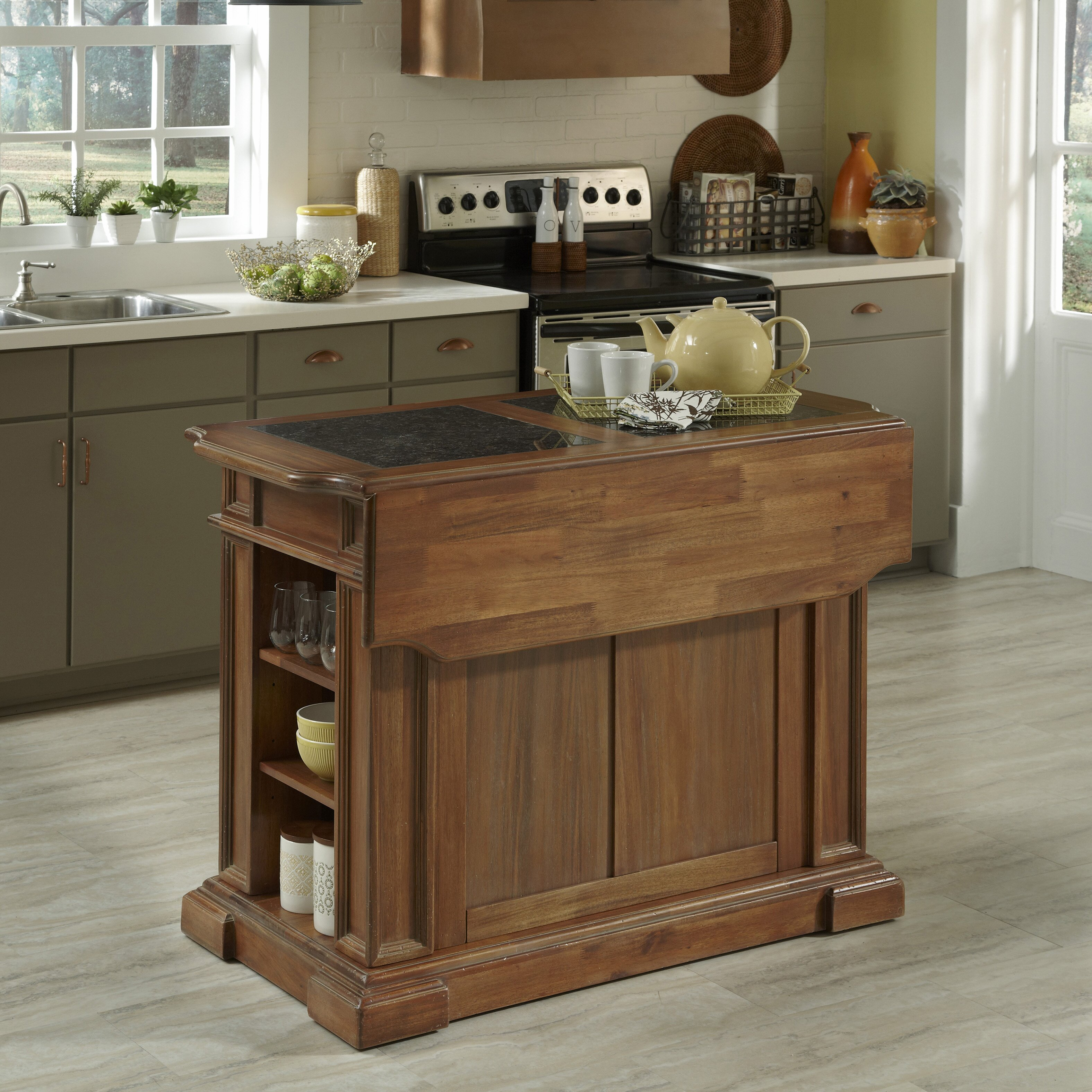 americana kitchen island with granite top wayfair home styles americana kitchen island with granite top