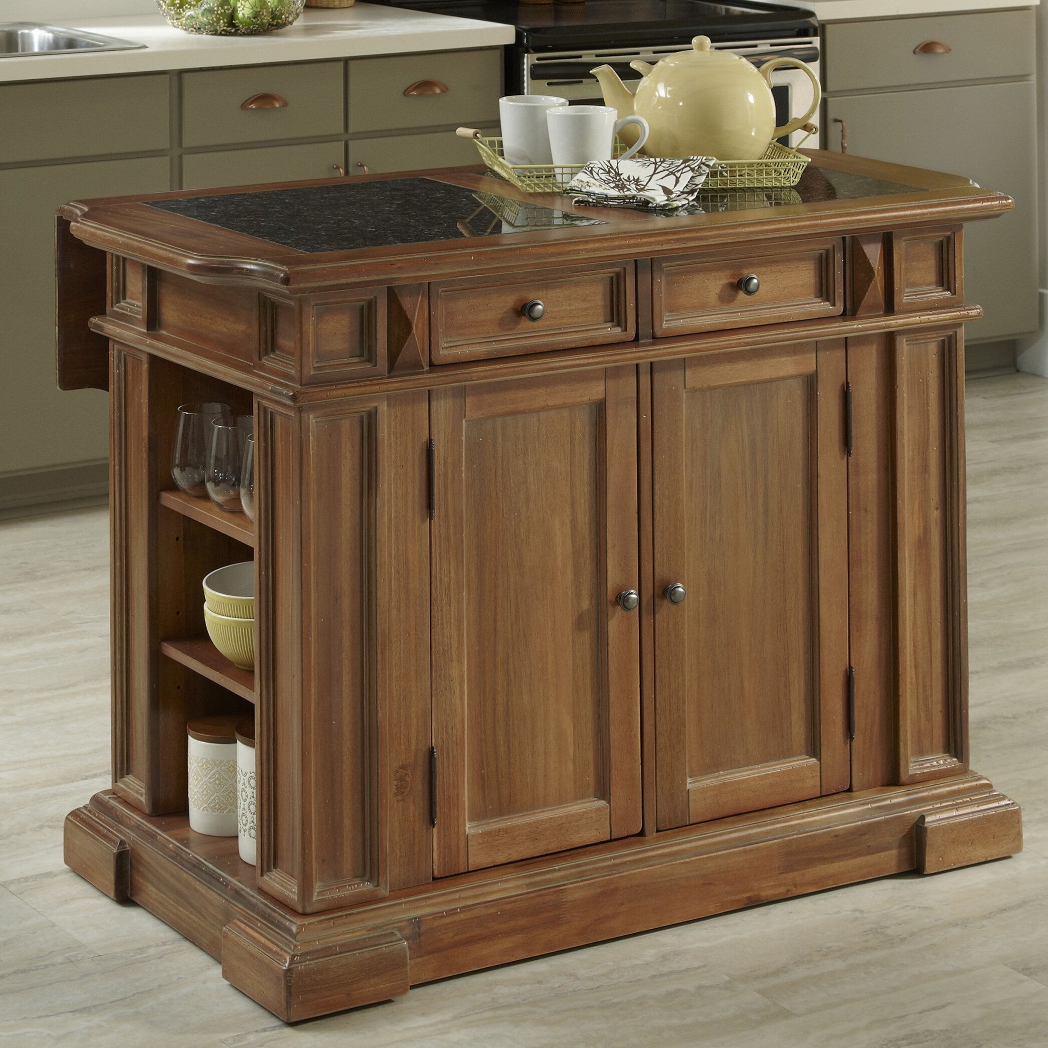 Americana kitchen island with granite top wayfair for Marble topped kitchen island