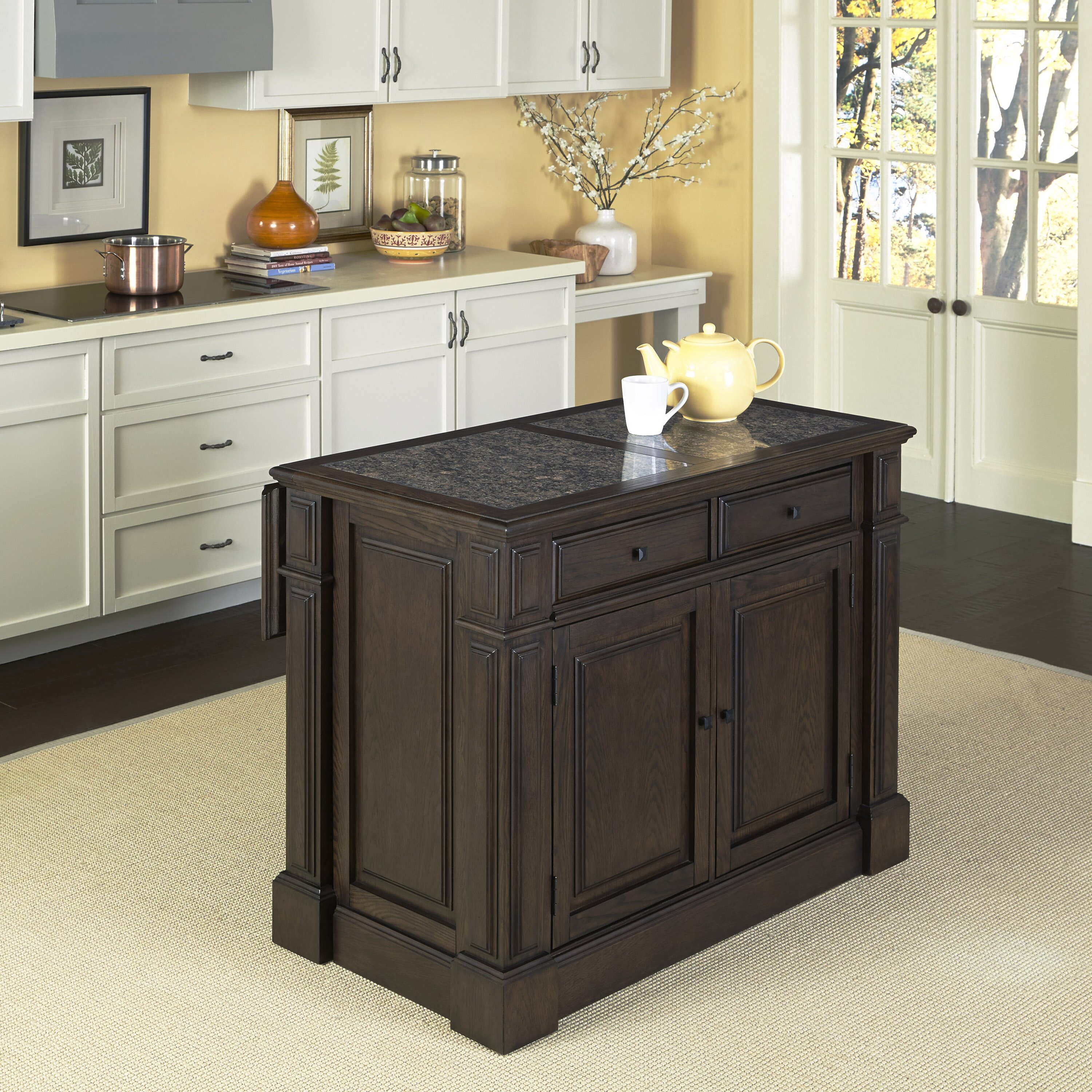 Home styles prairie home kitchen island with granite top for Marble topped kitchen island