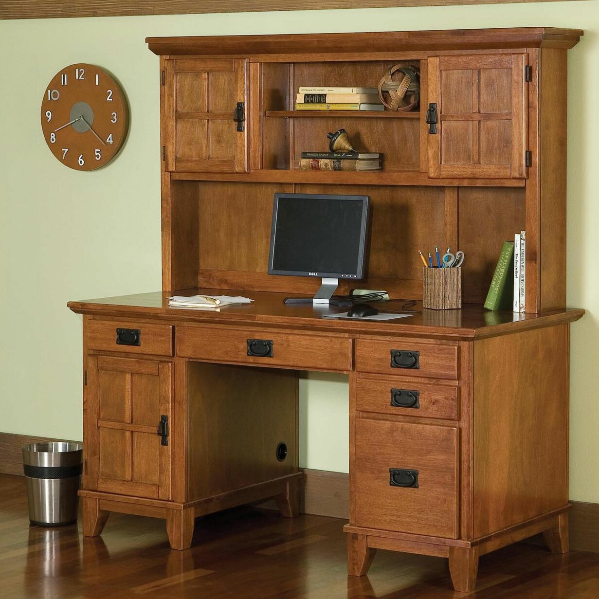 Arts And Crafts Pedestal Computer Desk And Hutch Wayfair