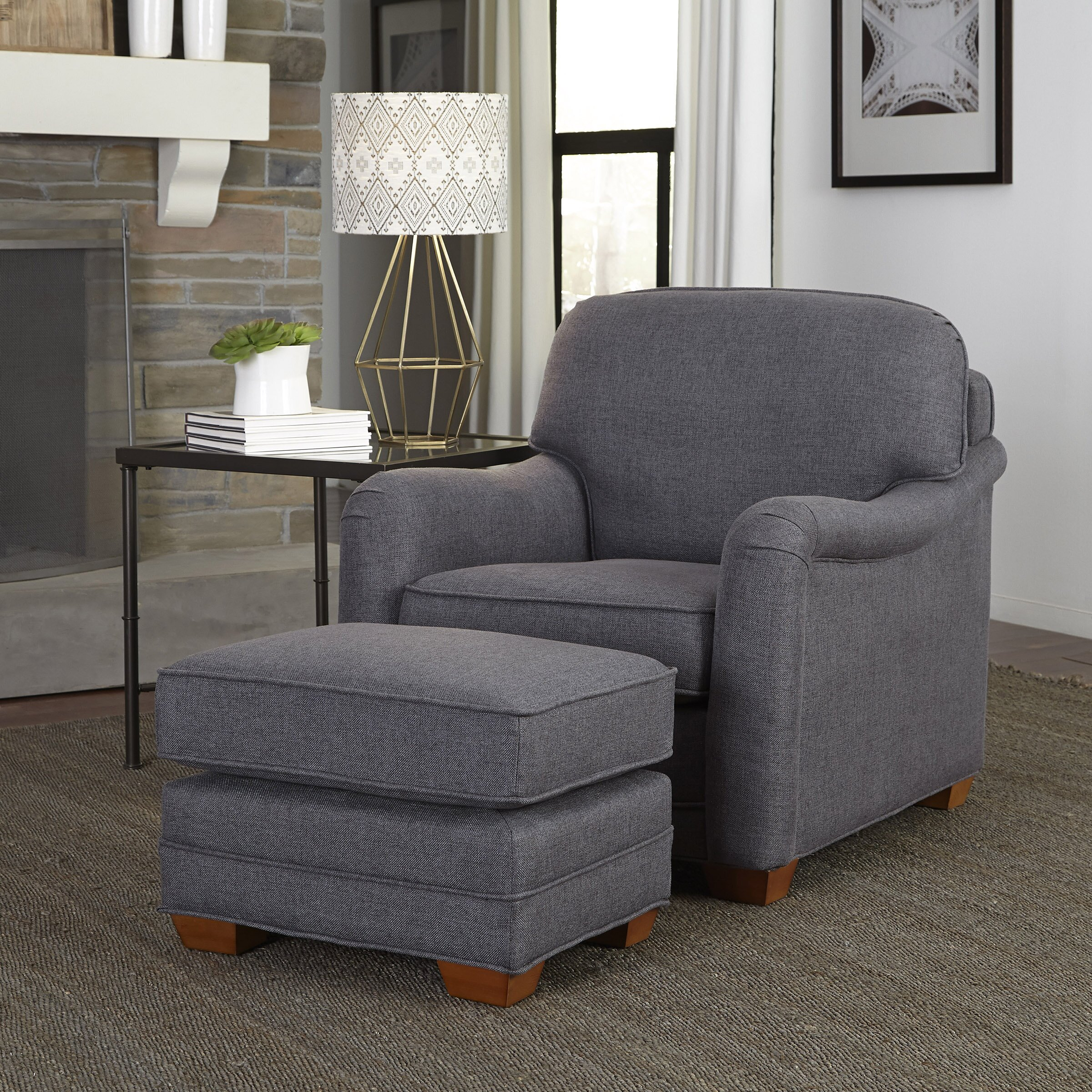 Accent Chair With Ottoman Cii: Stationary Arm Chair And Ottoman