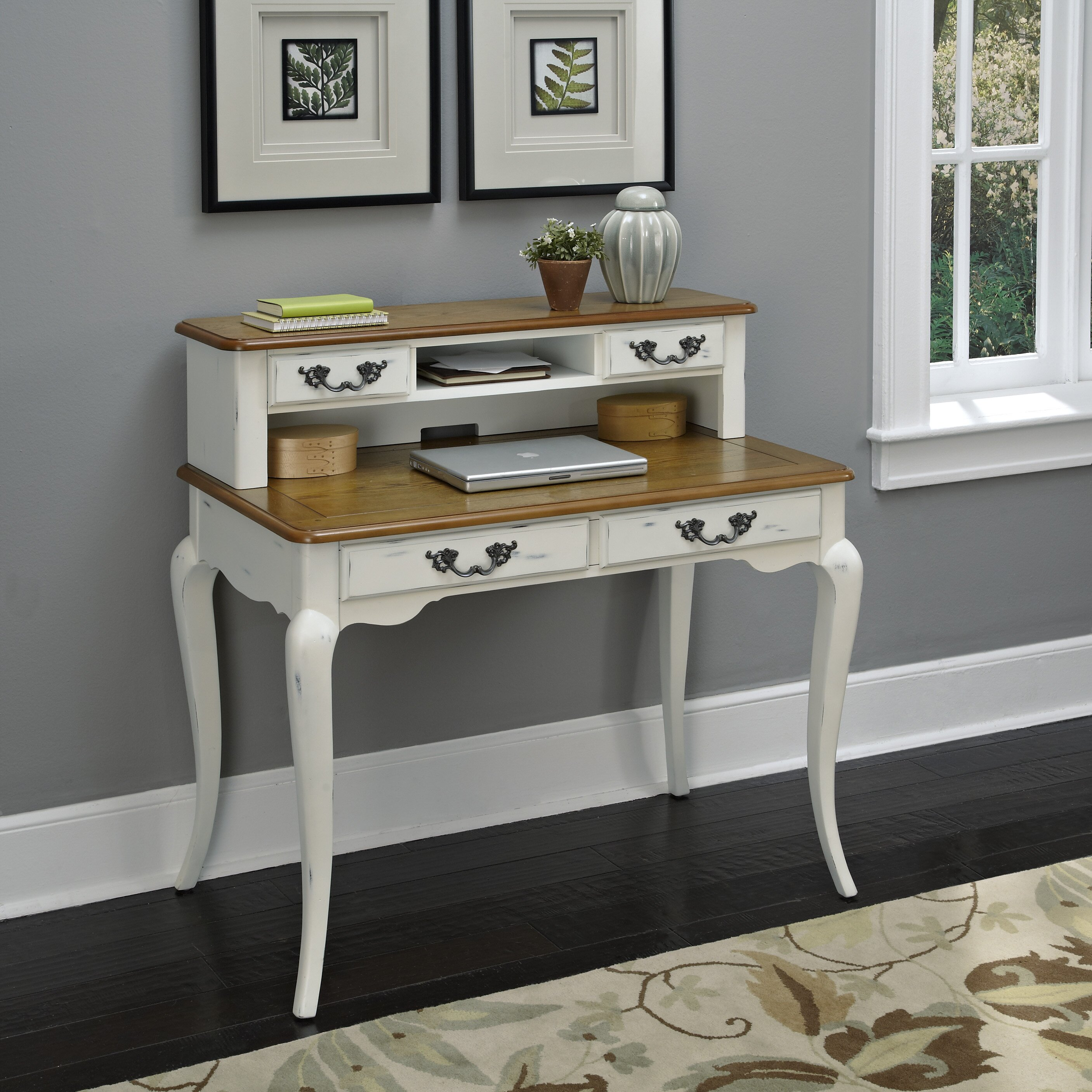 Writing Desk With Hutch ~ French countryside writing desk with hutch in white wayfair
