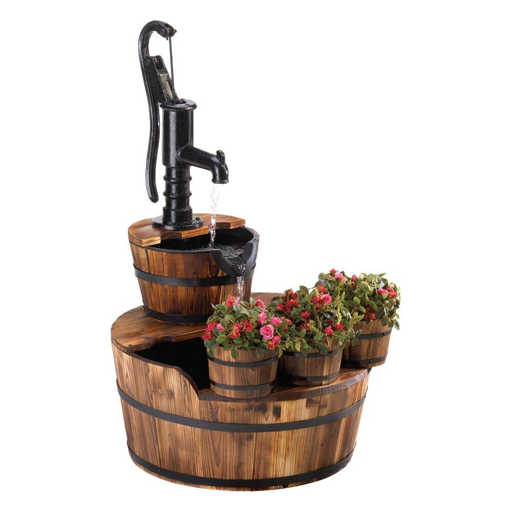 well pump wood and iron garden fountain wayfair