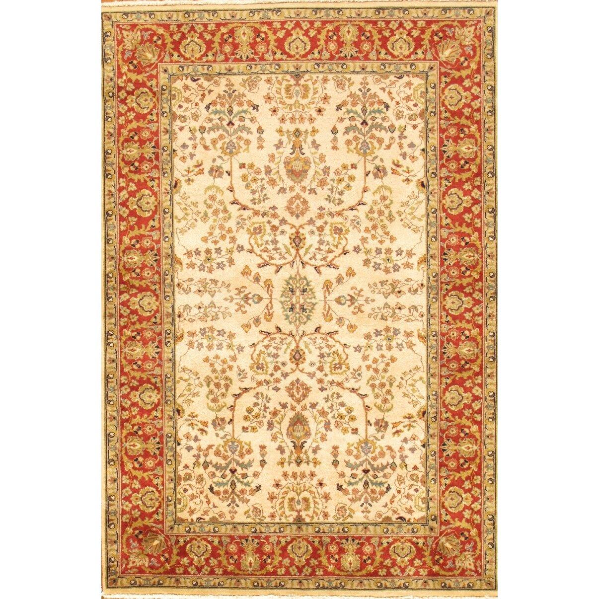 Sarouk Rust/Cream Traditional Persian Style Wool Area Rug