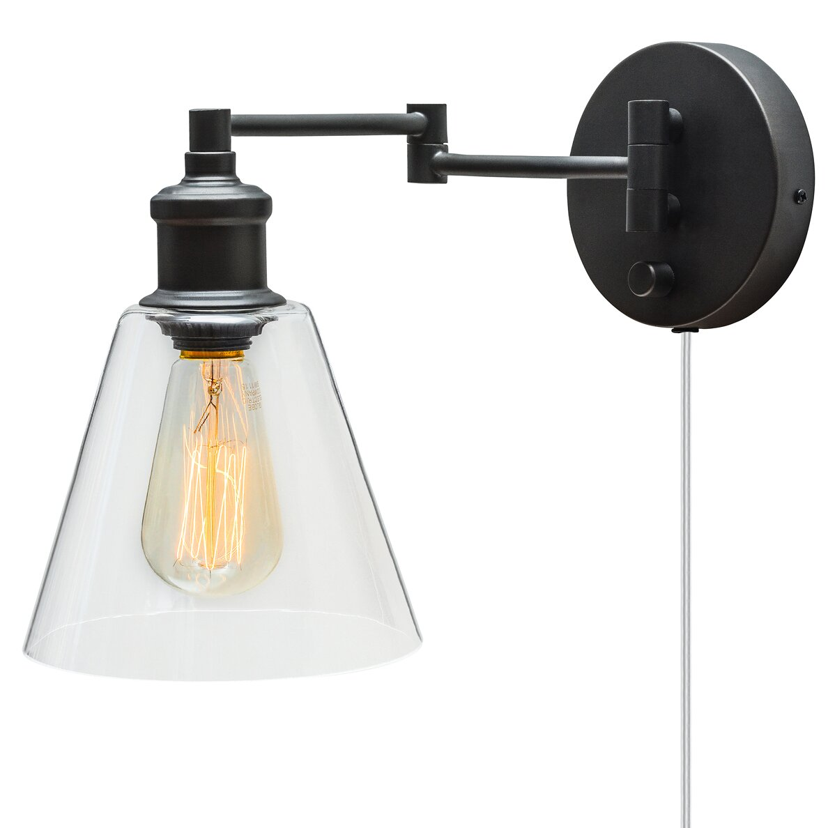 globe electric company adison 1 light plug in industrial wall sconce with hardwire conversion. Black Bedroom Furniture Sets. Home Design Ideas