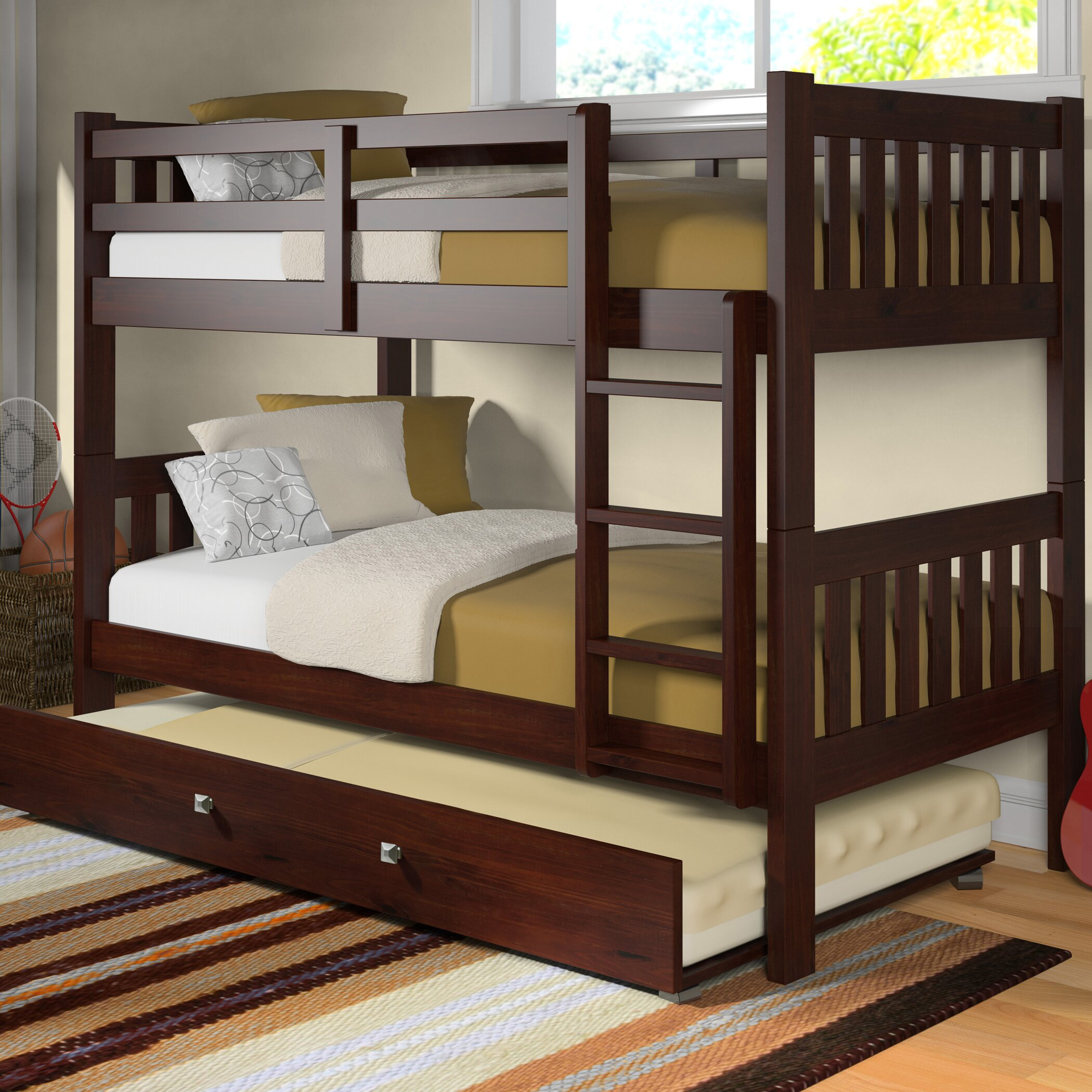 washington twin bunk bed with trundle wayfair. Black Bedroom Furniture Sets. Home Design Ideas