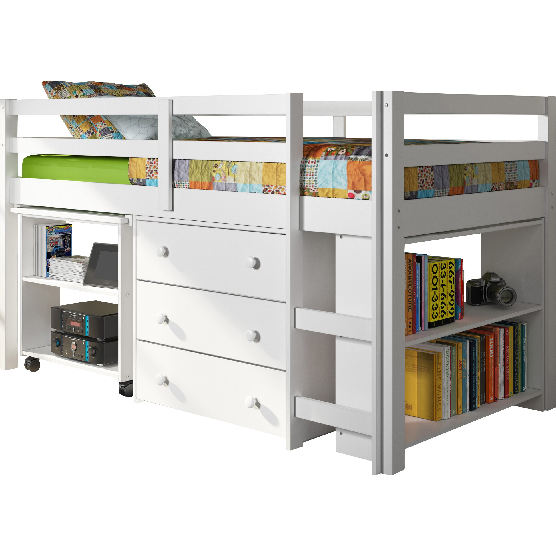 twin low loft bed with storage wayfair. Black Bedroom Furniture Sets. Home Design Ideas