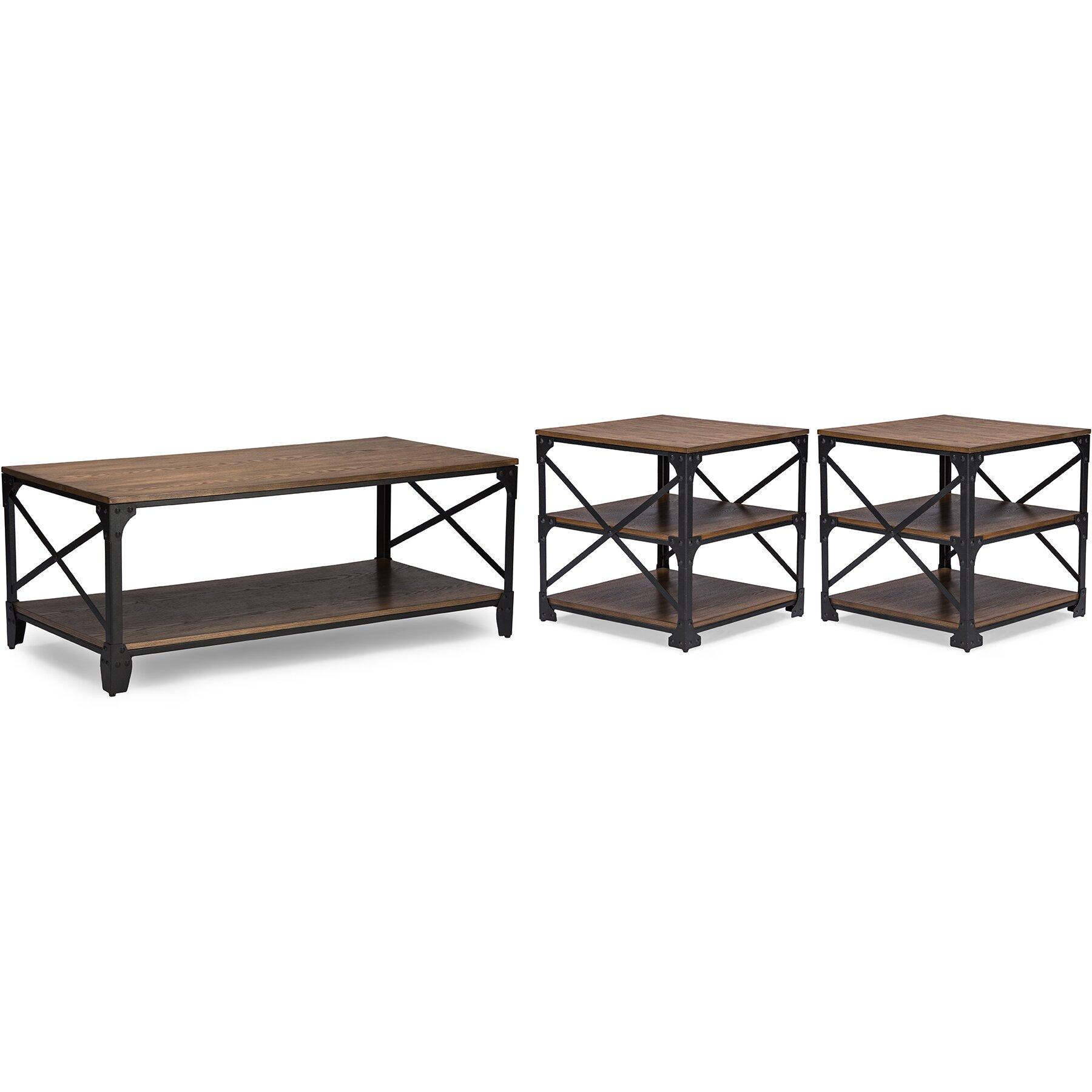 Bronze Industrial Coffee Table: Baxton Studio 3 Piece Coffee Table Set