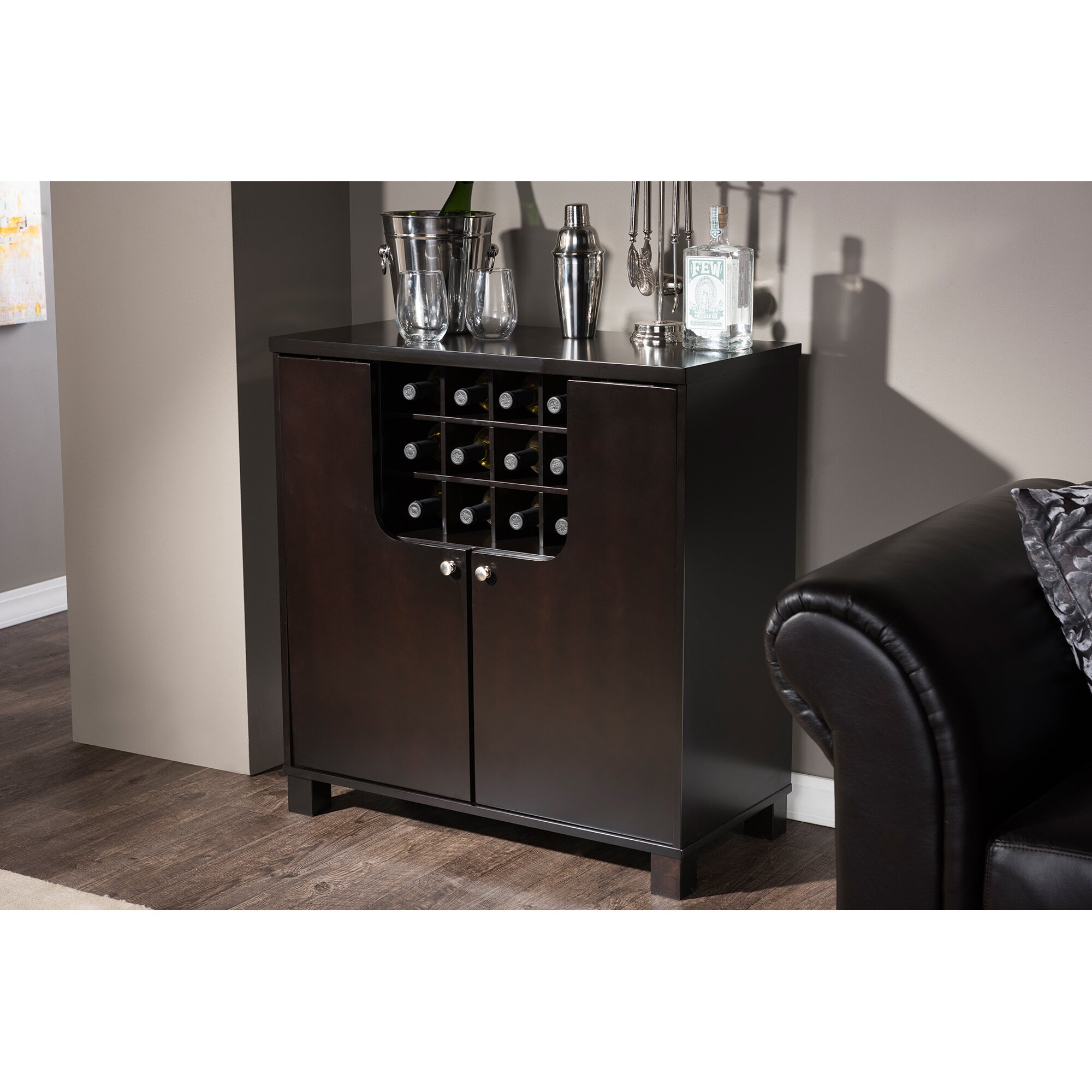 Wood Home Bar Furniture: Baxton Studio Murano Dry Bar And 12 Bottle Wine Cabinet