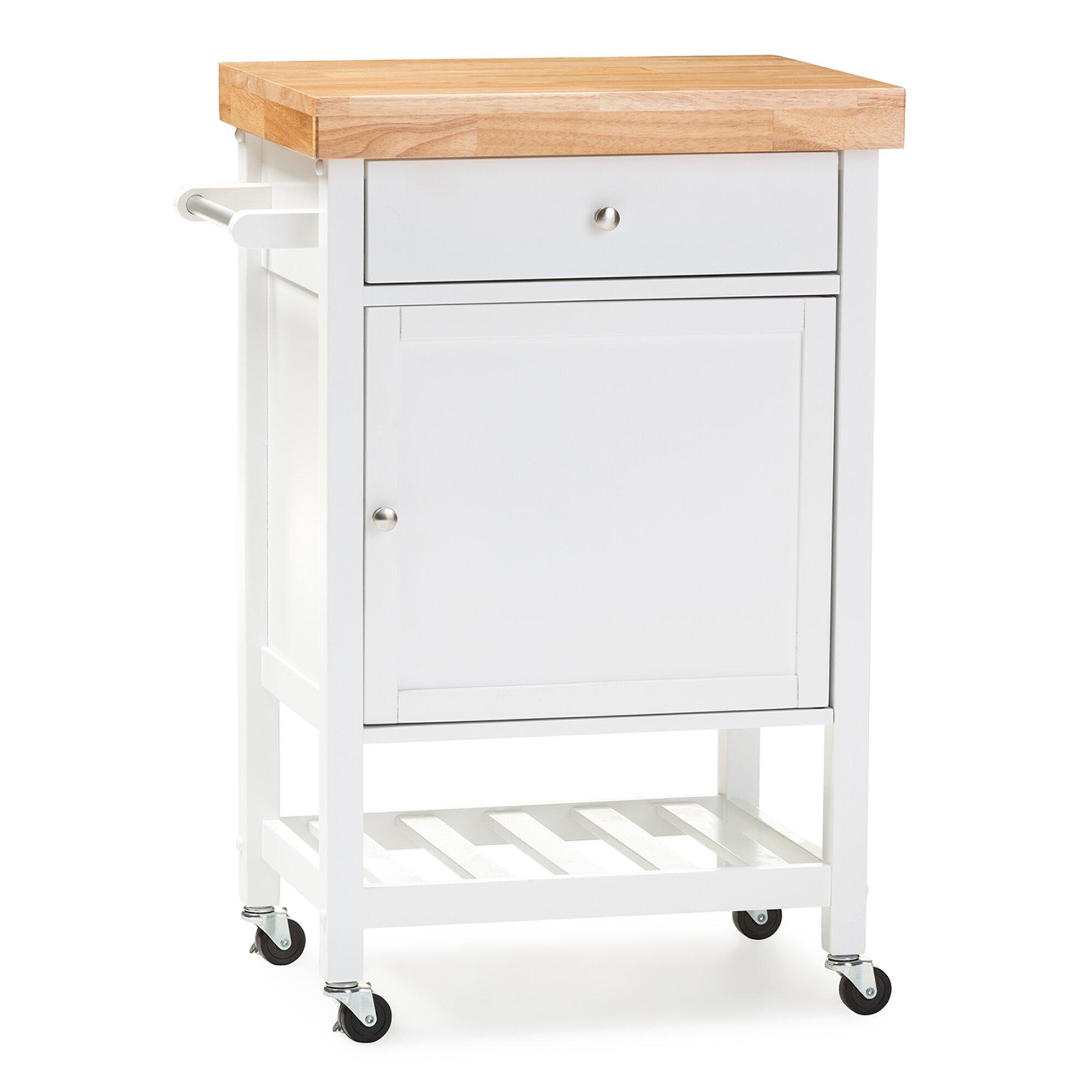 Baxton Studio Kitchen Cart With Wood Top Wayfair