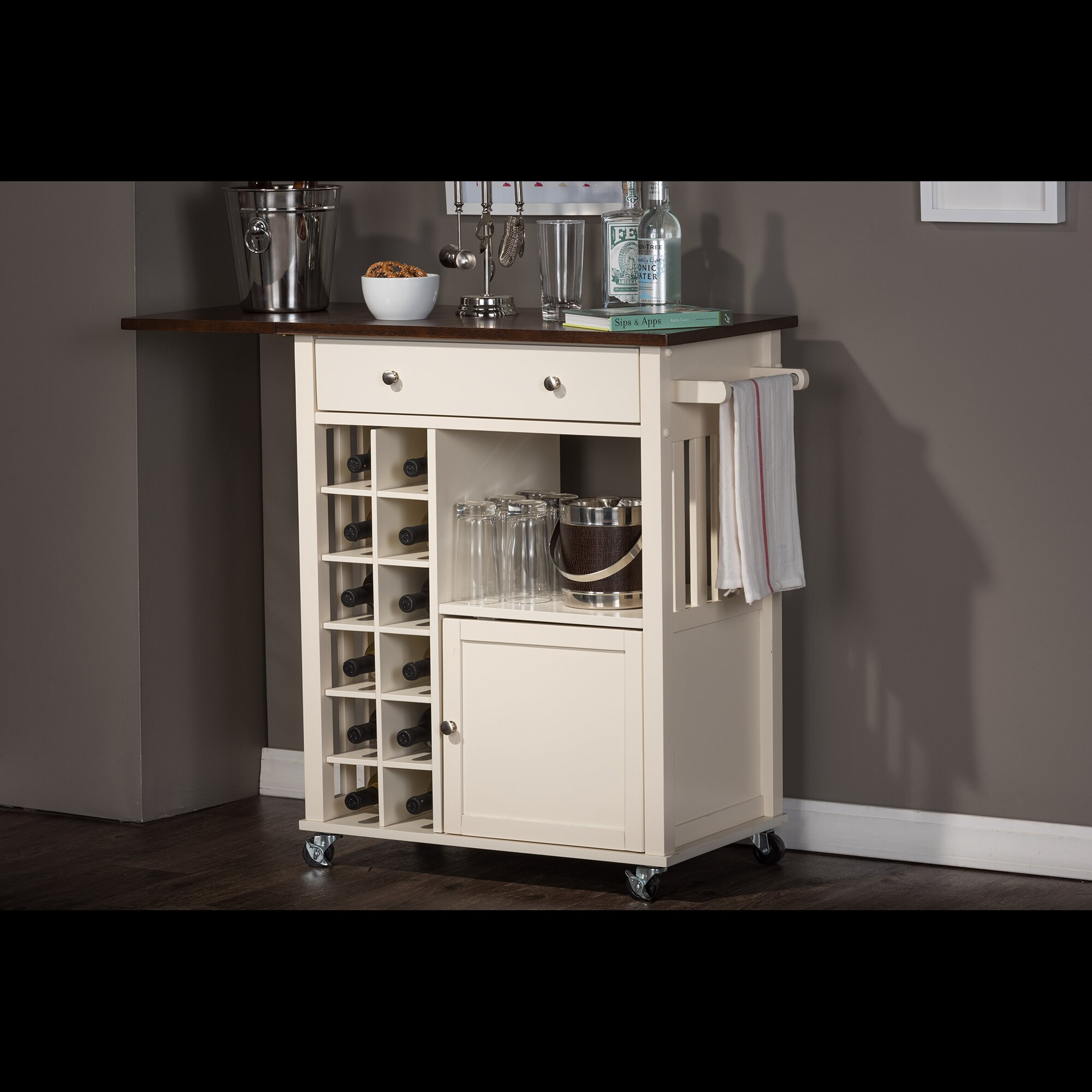 Baxton Studio Justin Solid Wood Kitchen Cart With Dark Oak Drop Leaf Top And Built In Wine Rack