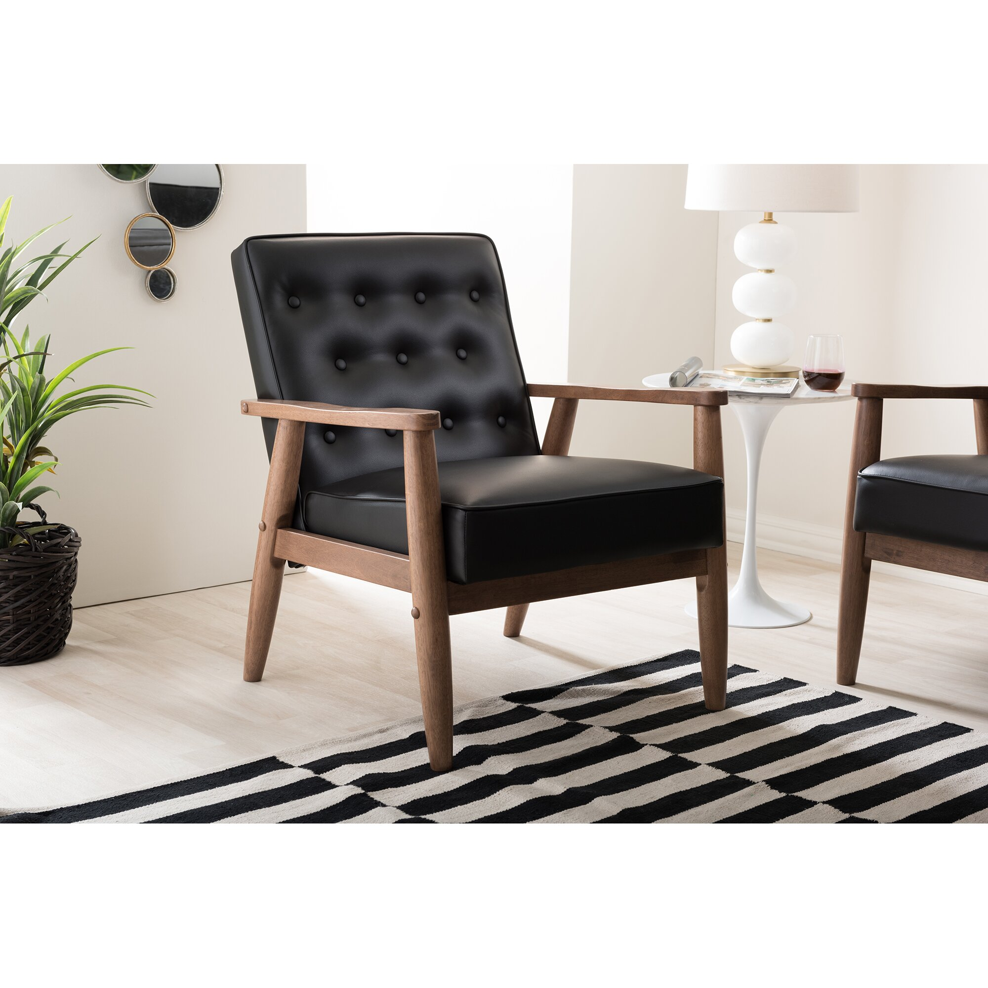 baxton studio lounge chair wayfair. Black Bedroom Furniture Sets. Home Design Ideas