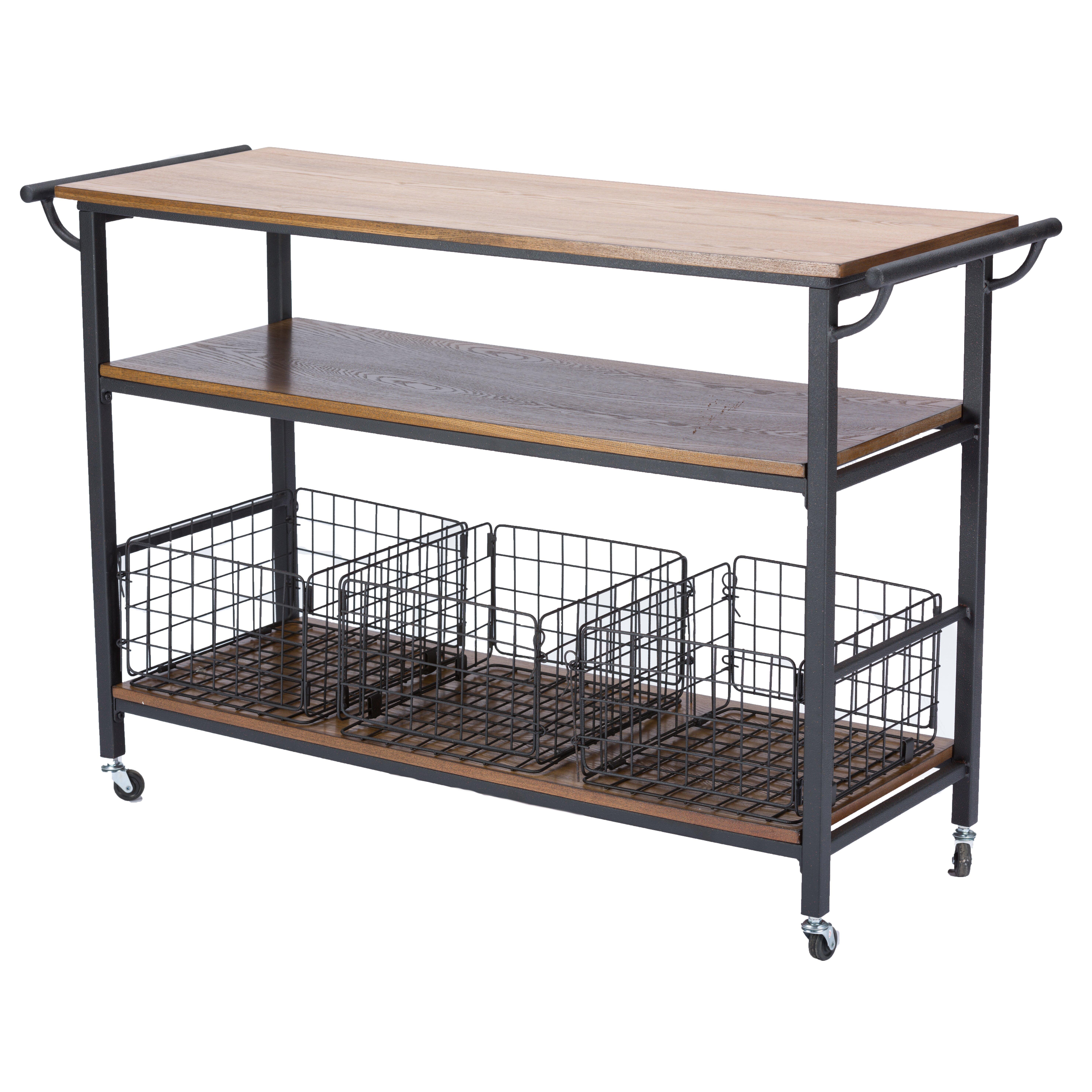 Wholesale Interiors Lancashire Kitchen Cart With Wooden Top Reviews Wayfair