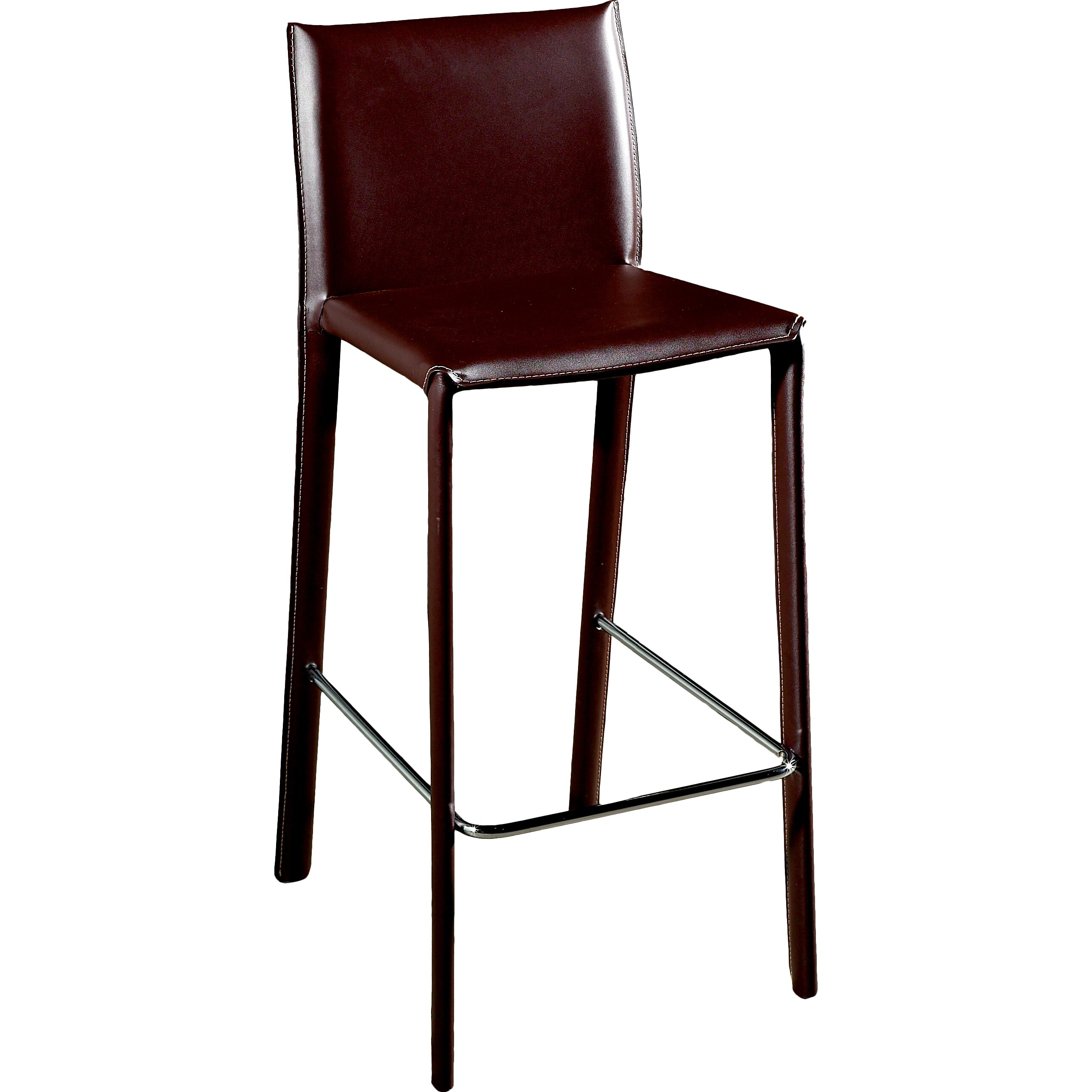 "Wholesale Interiors Cognac Dark Brown Leather Bar Stool: Baxton Studio Ferdinand 25.5"" Bar Stool"