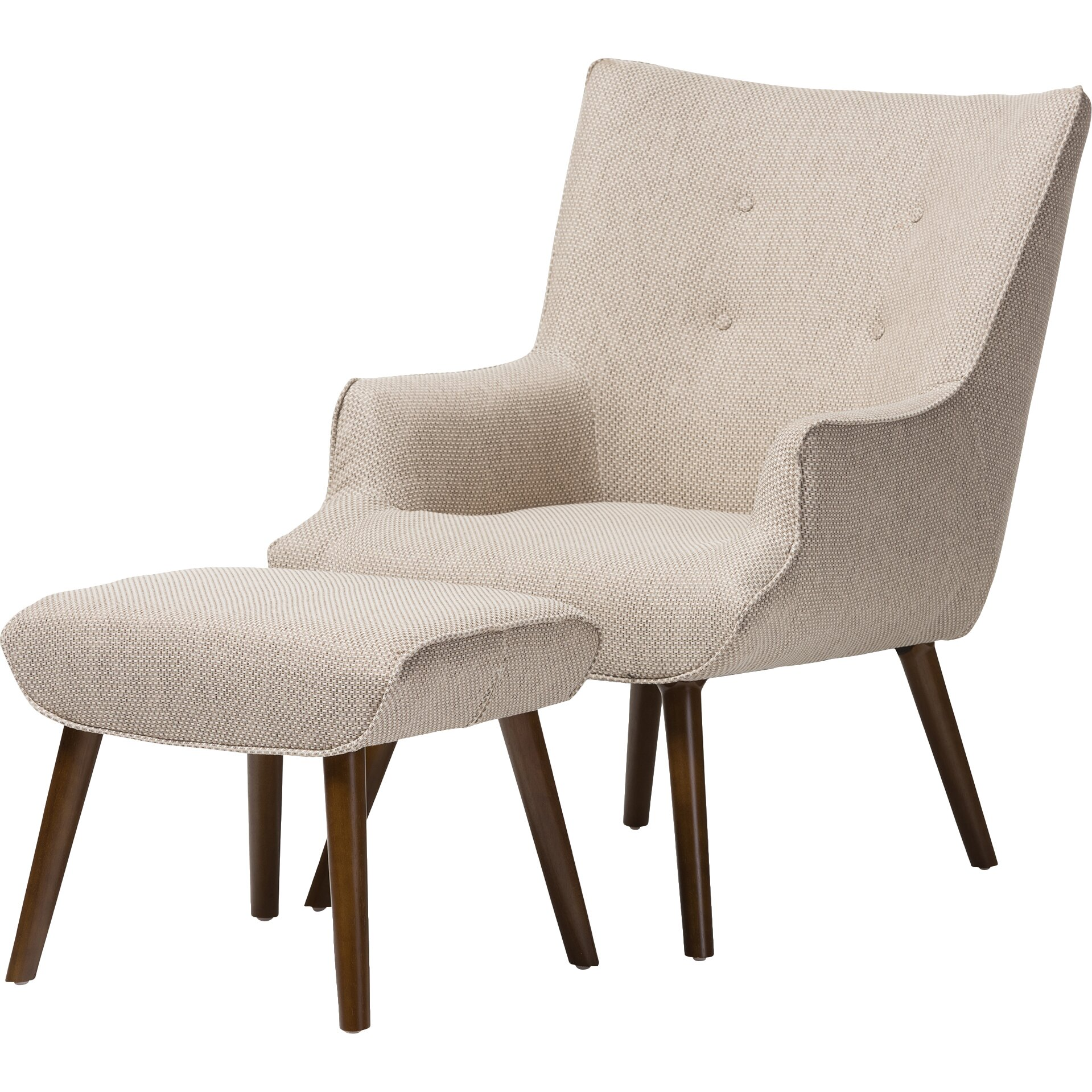 Baxton Studio Elena Armchair and Ottoman | Wayfair