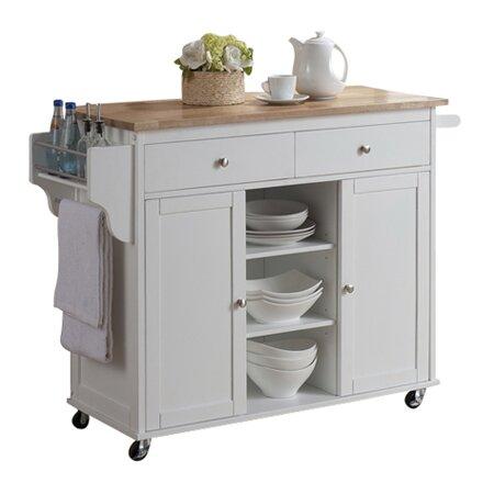 Wholesale Interiors Baxton Studio Meryland Modern Kitchen Cart With Wooden Top Reviews Wayfair