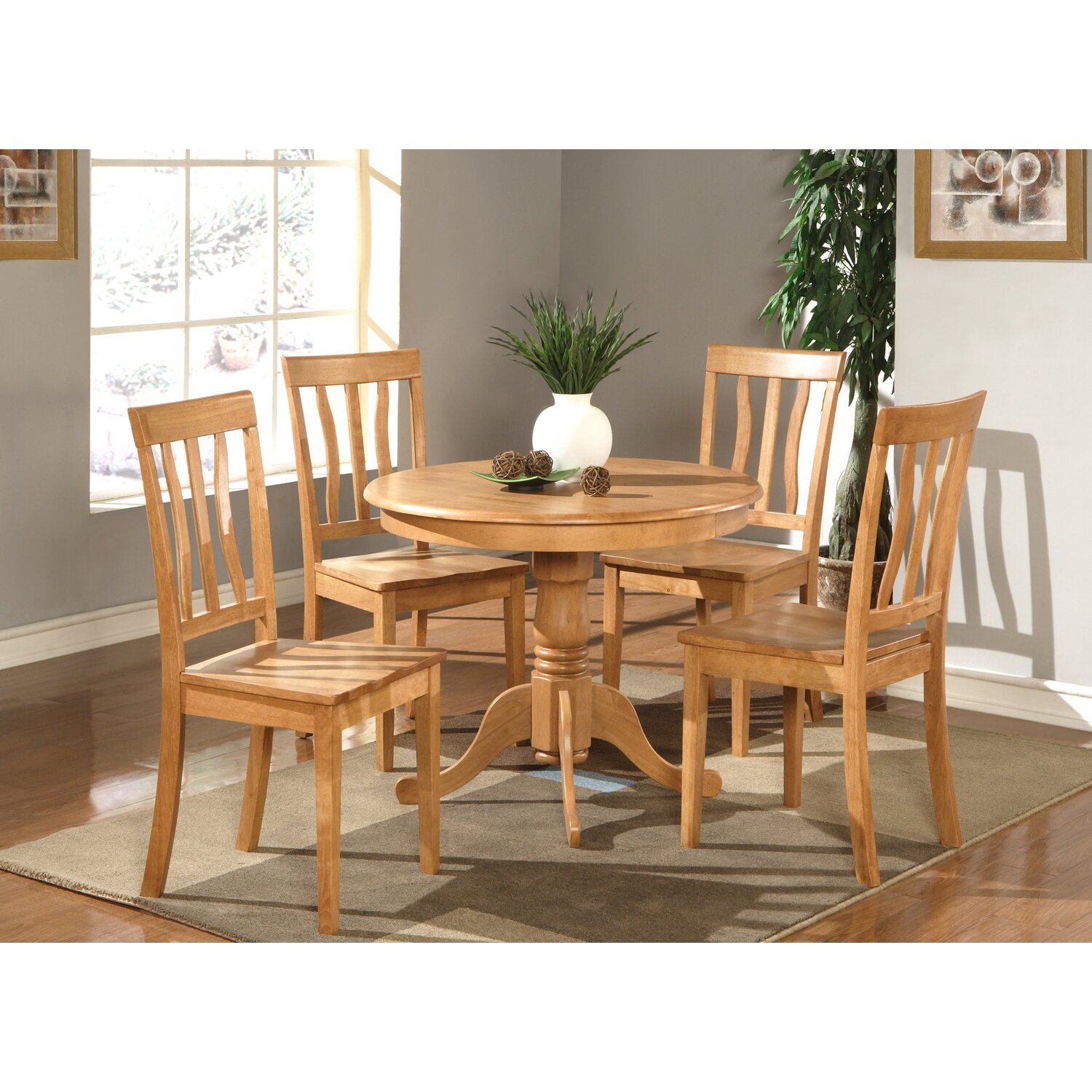 Wooden importers antique 5 piece dining set reviews for Wooden dining set