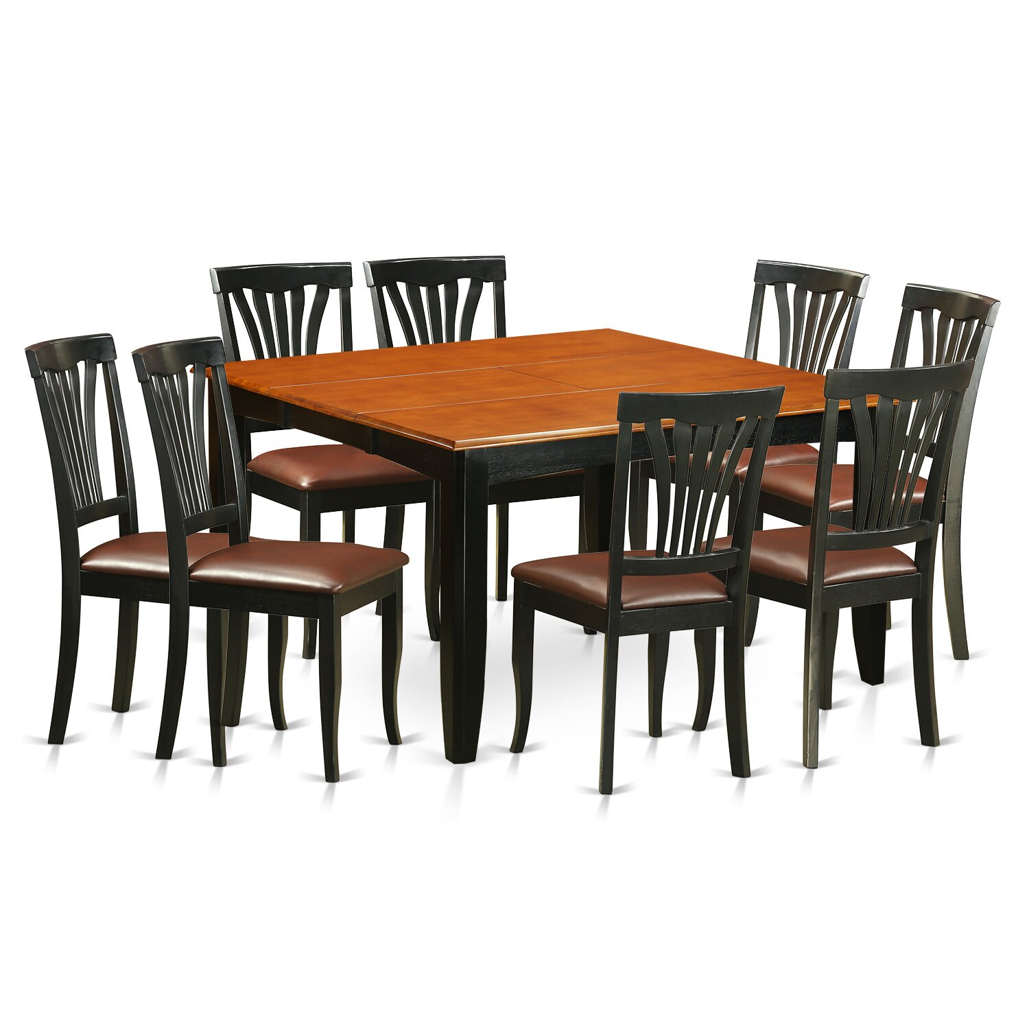 9 Piece Solid Wood Dining Set With Table And 8 Chairs: Parfait 9 Piece Dining Set
