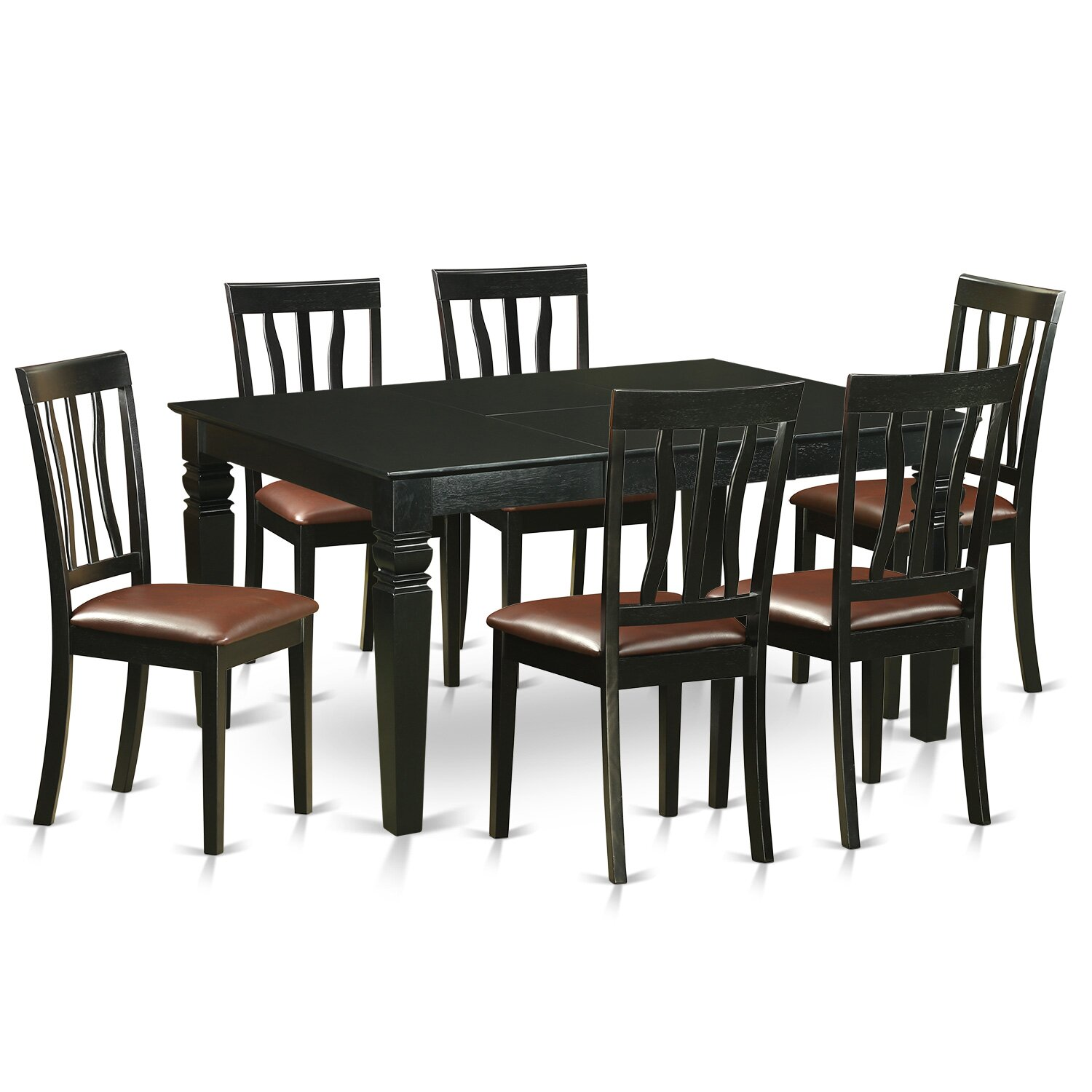 Piece Table Set Dining Table And 6 Dining Room Chairs WEAN7 BLK C