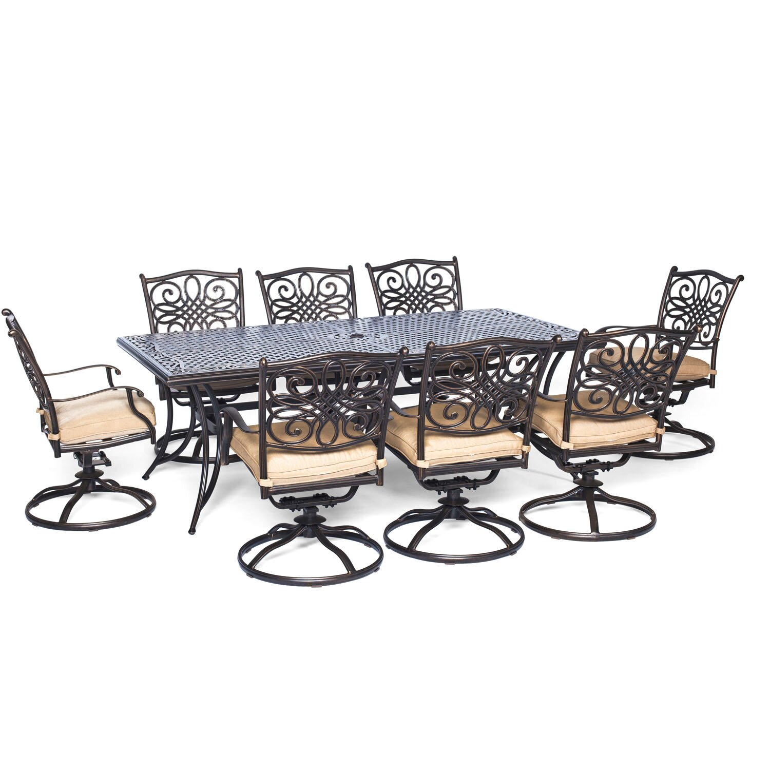 hanover traditions 9 piece dining set with cushion reviews wayfair. Black Bedroom Furniture Sets. Home Design Ideas