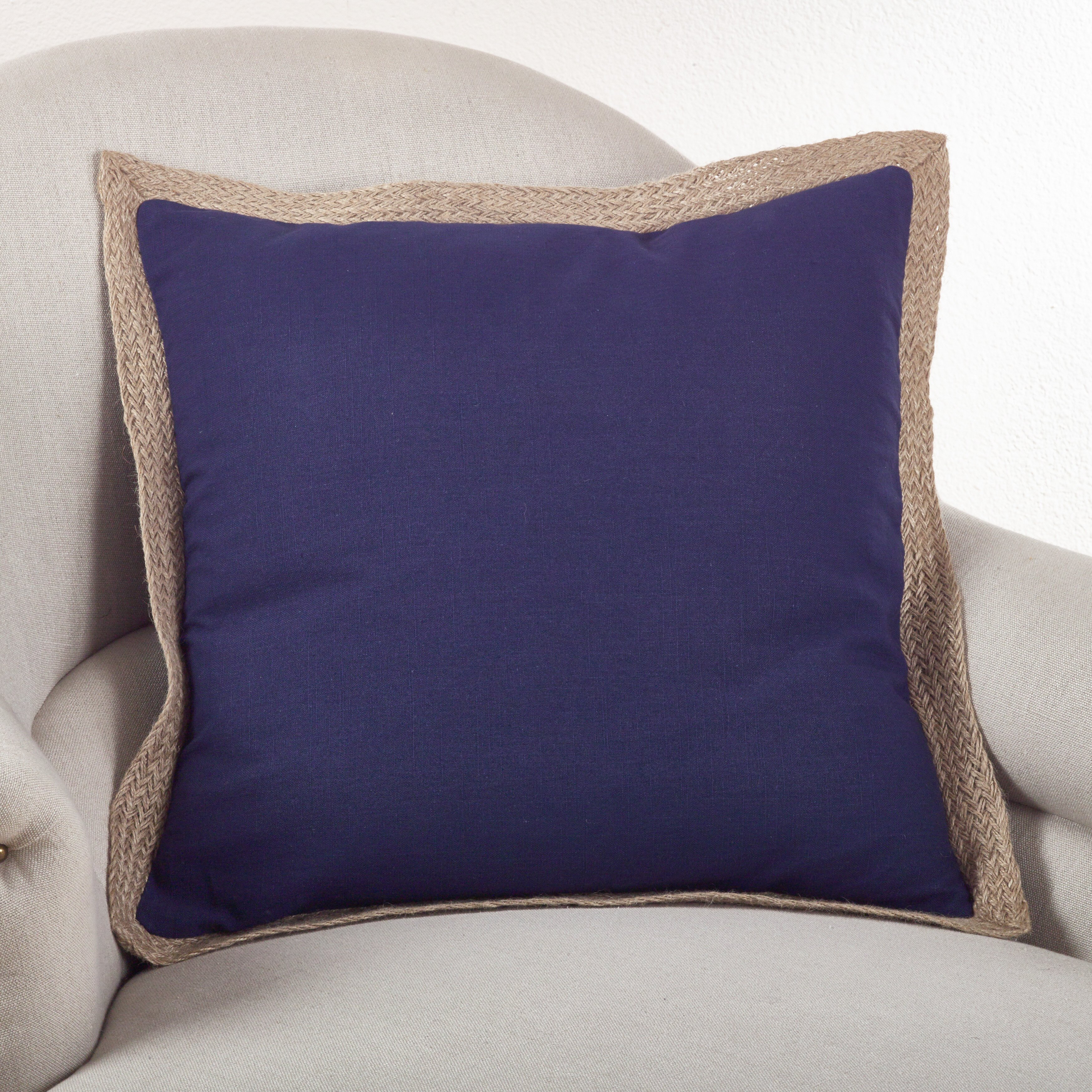 Throw Pillow Trim : Classic Jute Trim Cotton Throw Pillow Wayfair