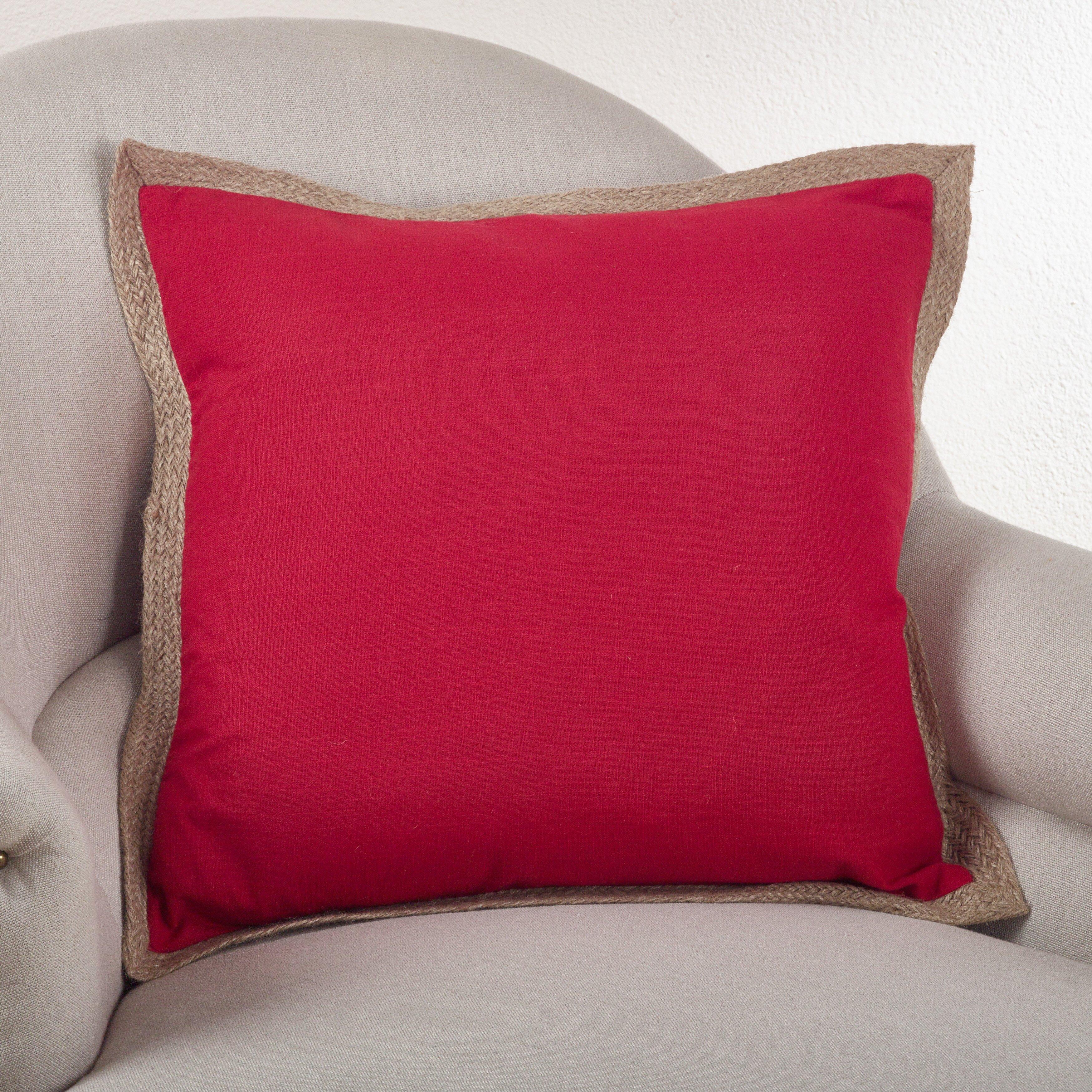 Saro Classic Jute Trim Cotton Throw Pillow & Reviews Wayfair
