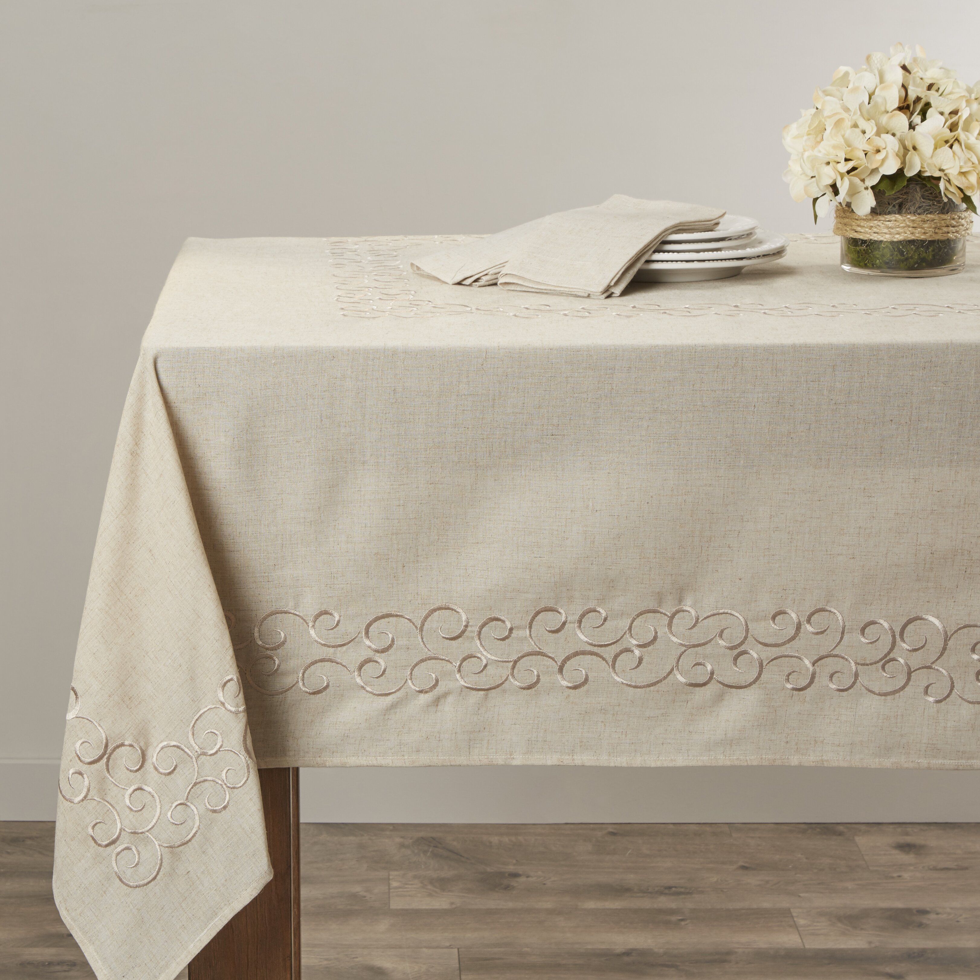 Embroidered Scroll Design Tablecloth Wayfair