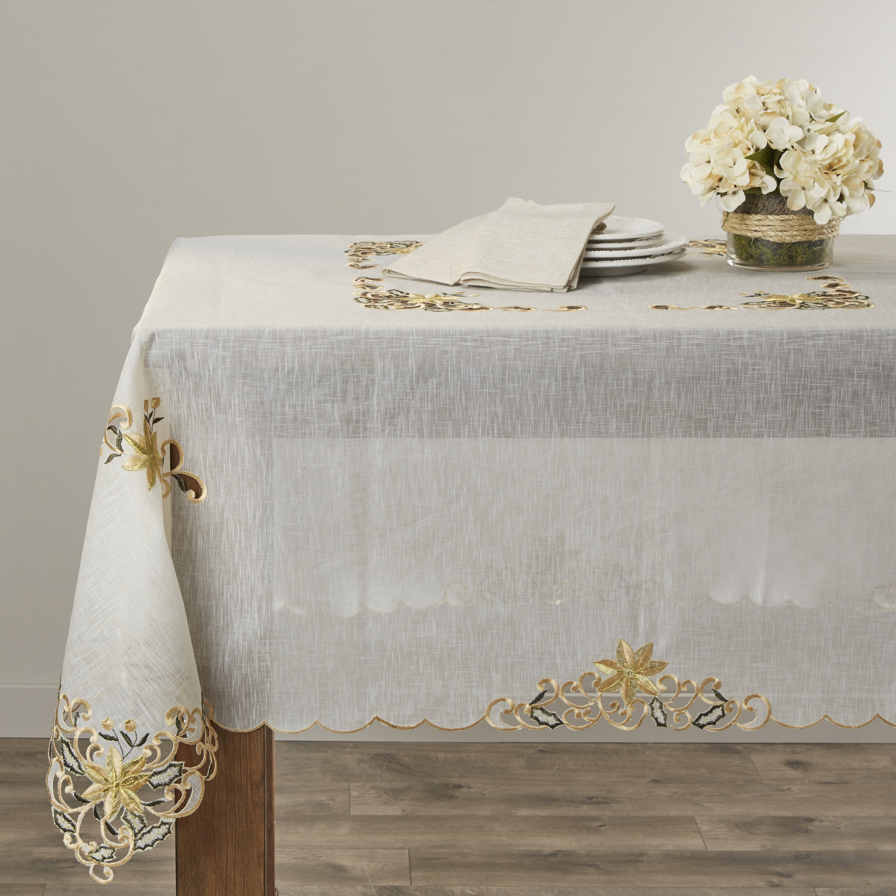 Golden Blossom Embroidered And Cutwork Tablecloth Wayfair