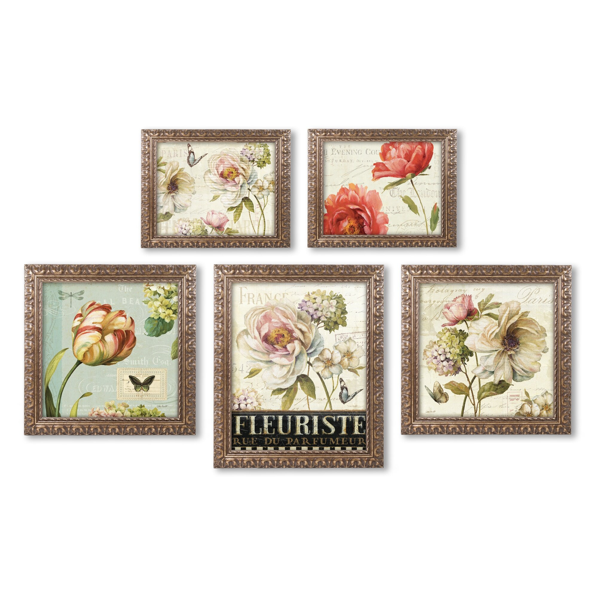 Wall Decor Set Of 5 : Lisa audit floral wall piece ornate framed graphic art