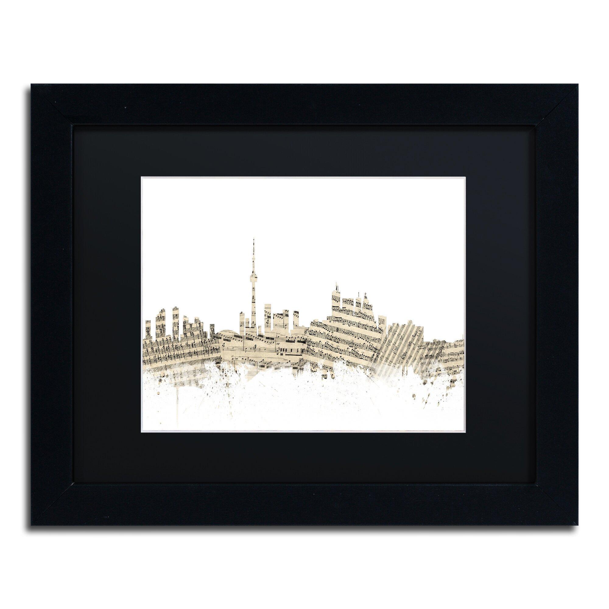 Toronto Skyline Sheet Music By Michael Tompsett Framed Graphic Art In Black