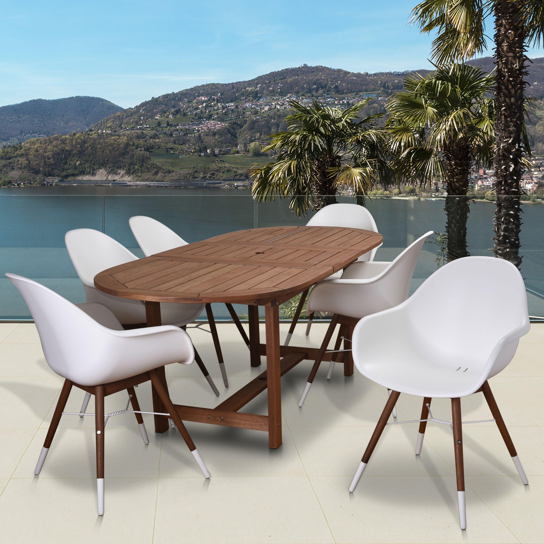 thomas tucson extendable patio 7 piece dining set wayfair