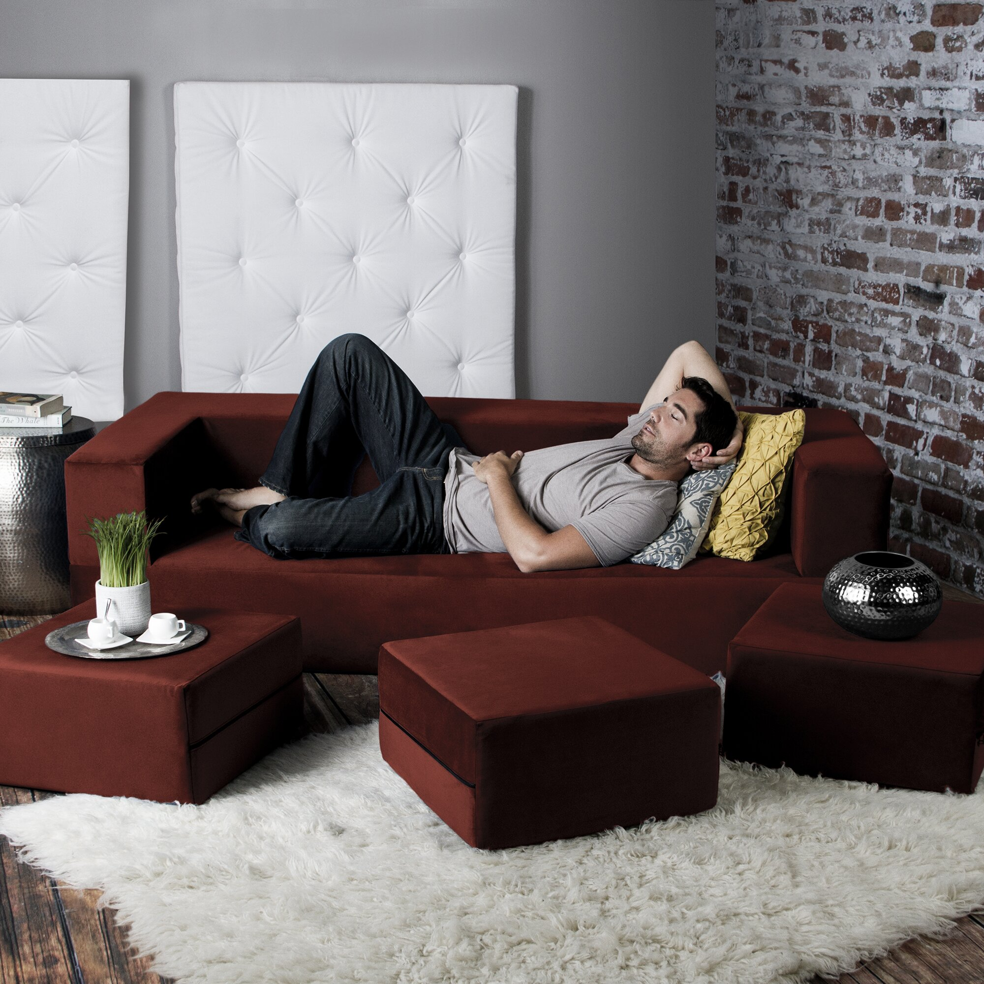 Zipline Convertible Sofa Bed And Ottomans