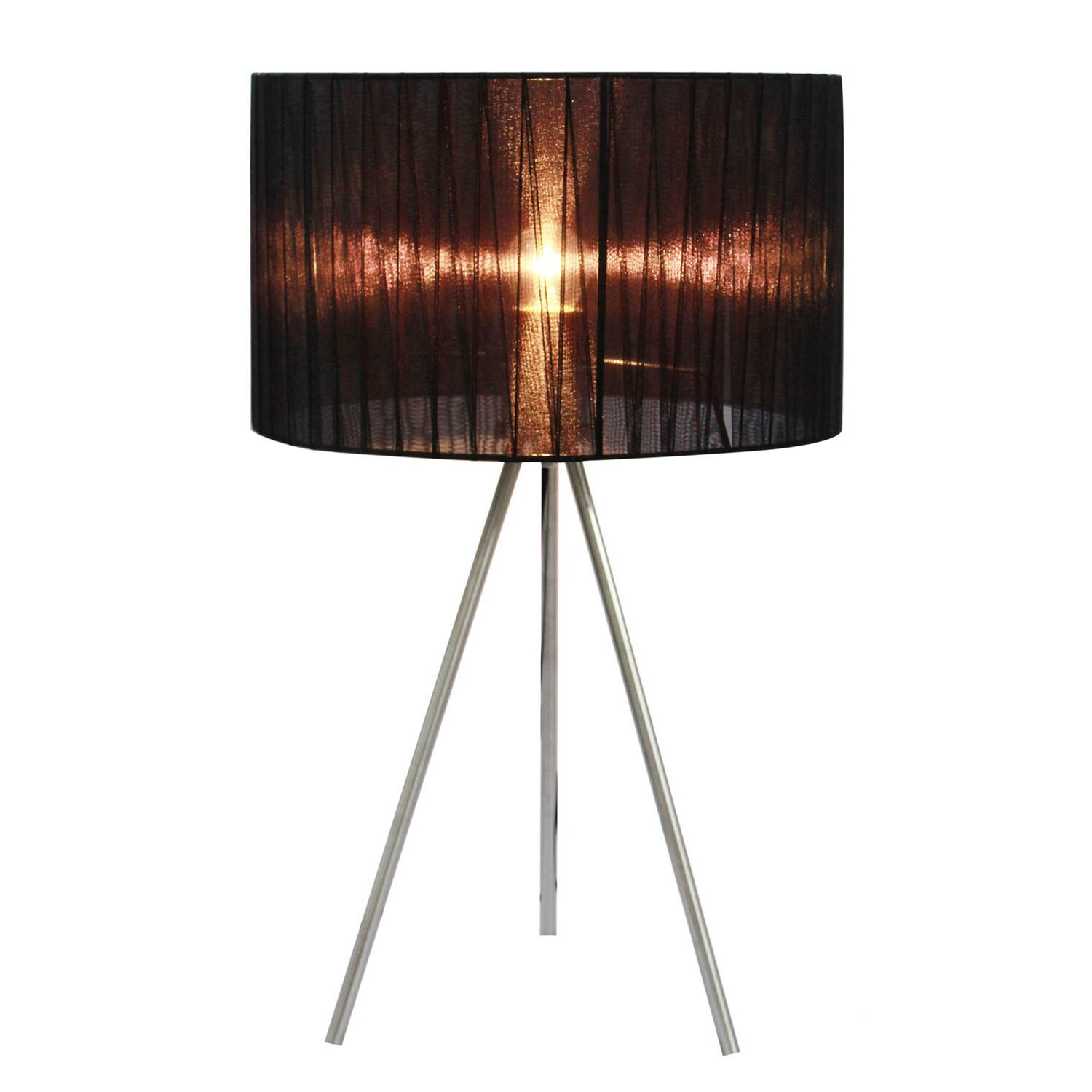 Simple Designs Sheer Silk Band Tripod 19 69 Quot H Table Lamp