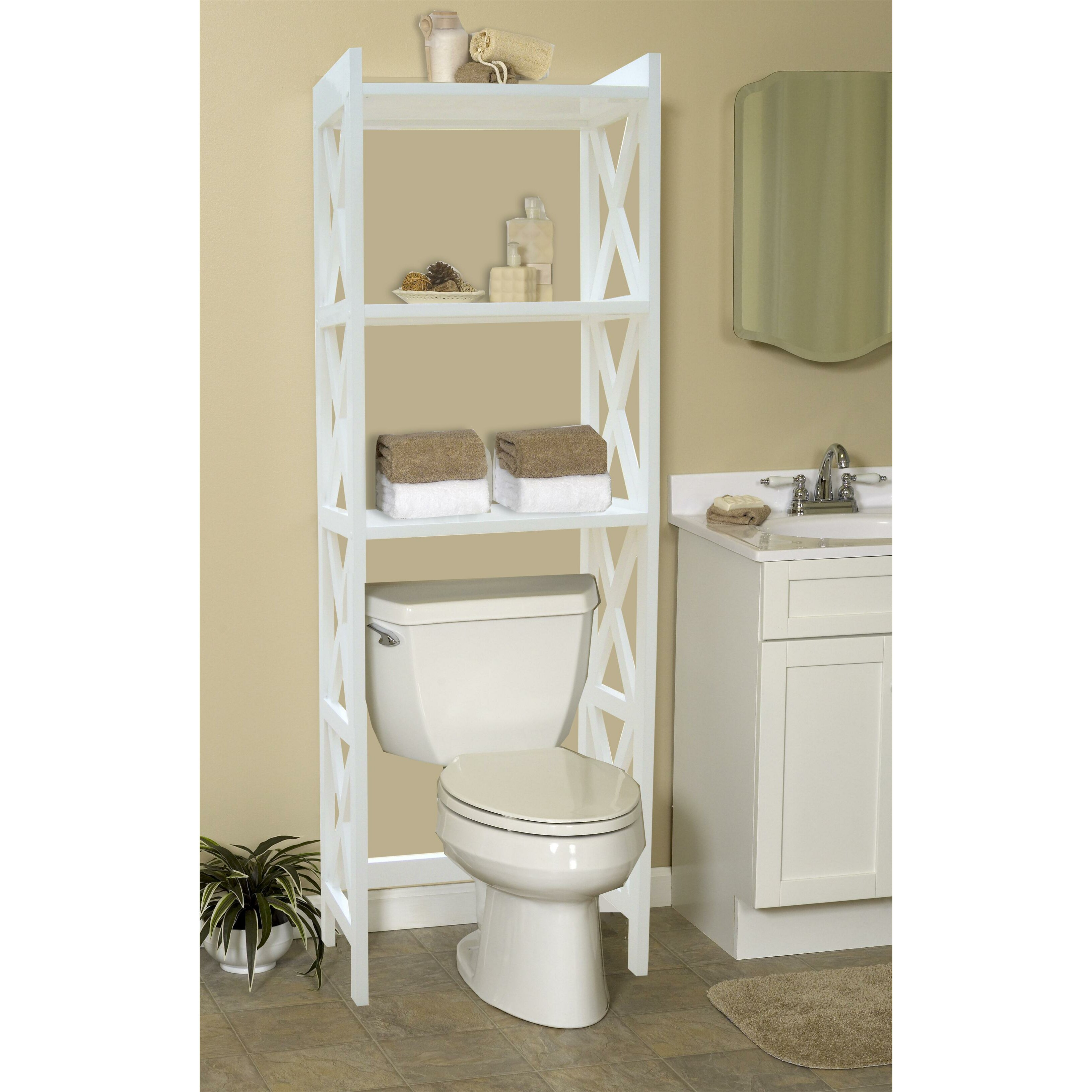 Bathroom space saver 24 5 x 62 free standing over the - Space saver furniture for bathroom ...